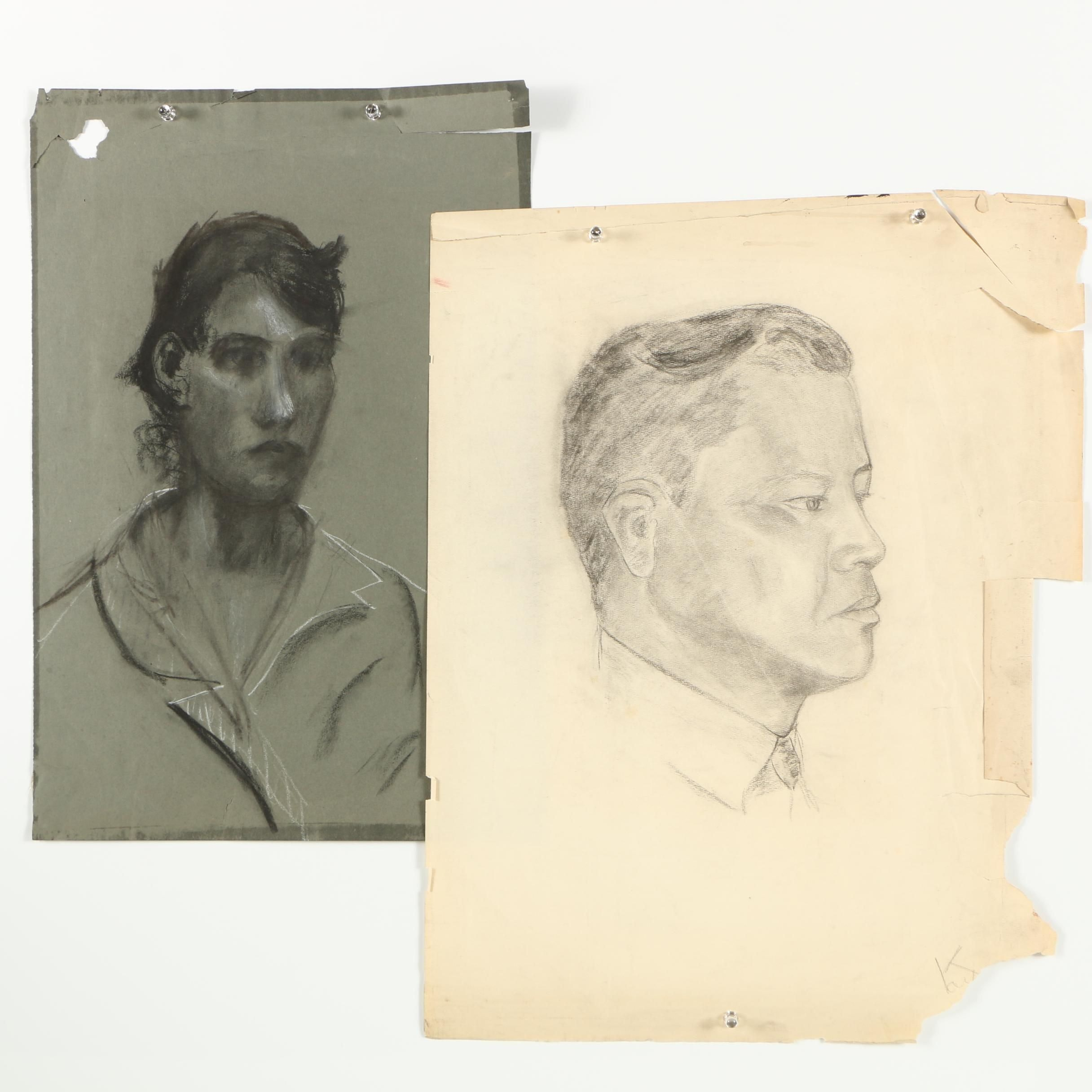 Mid-Century Charcoal Drawings of Male and Female Portraiture