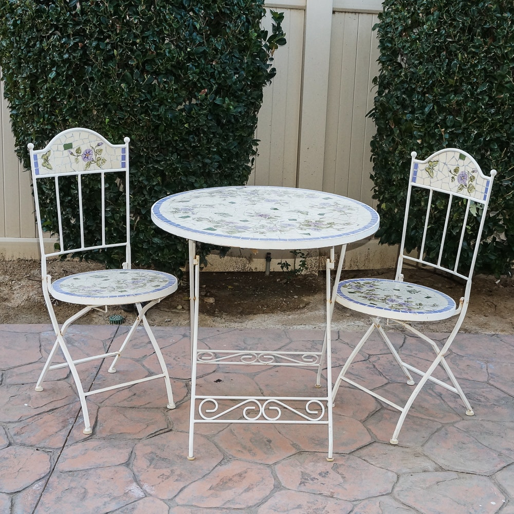 Outdoor Folding Bistro Table and Chairs with Tile Mosaic