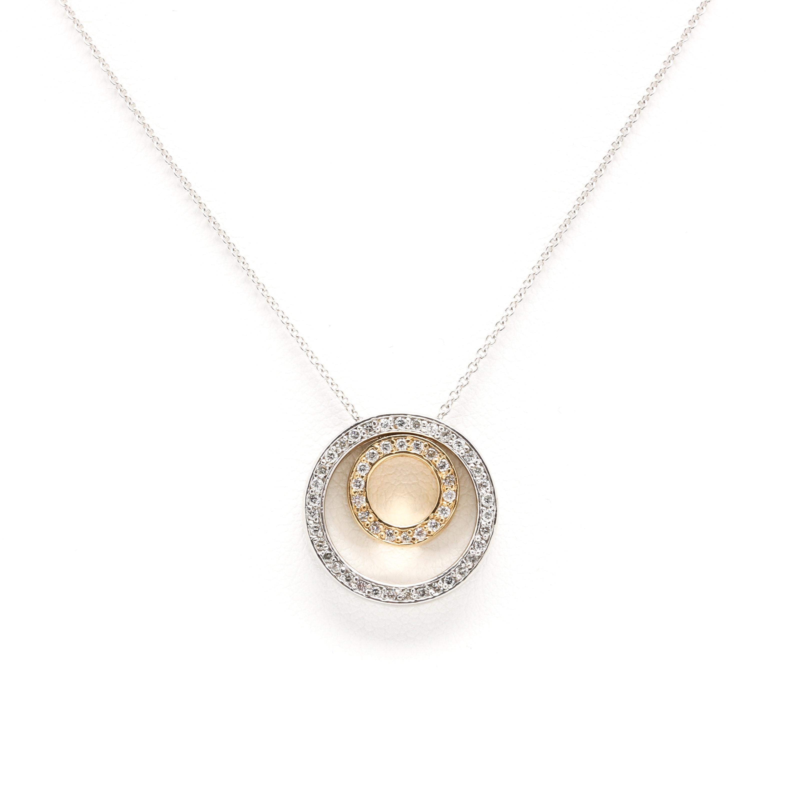 14K Two Tone Gold Diamond Pendant Necklace
