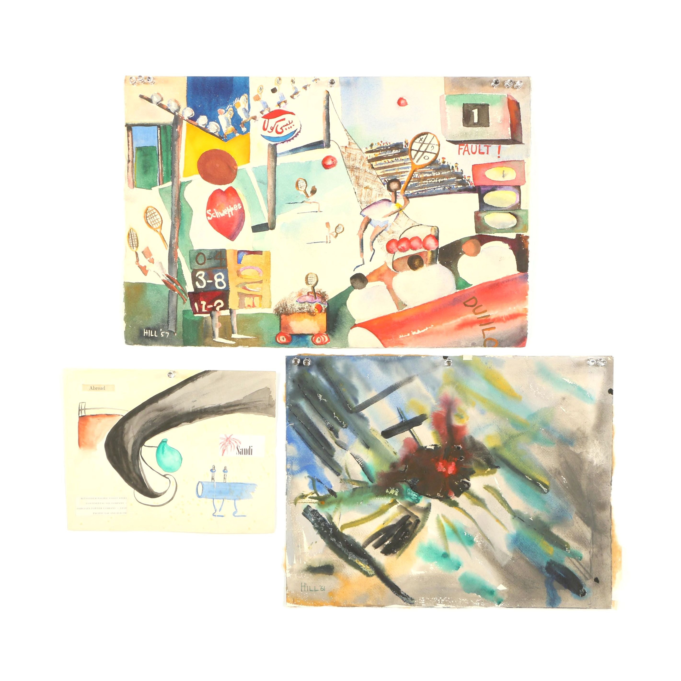 Hill Abstract Watercolor Paintings