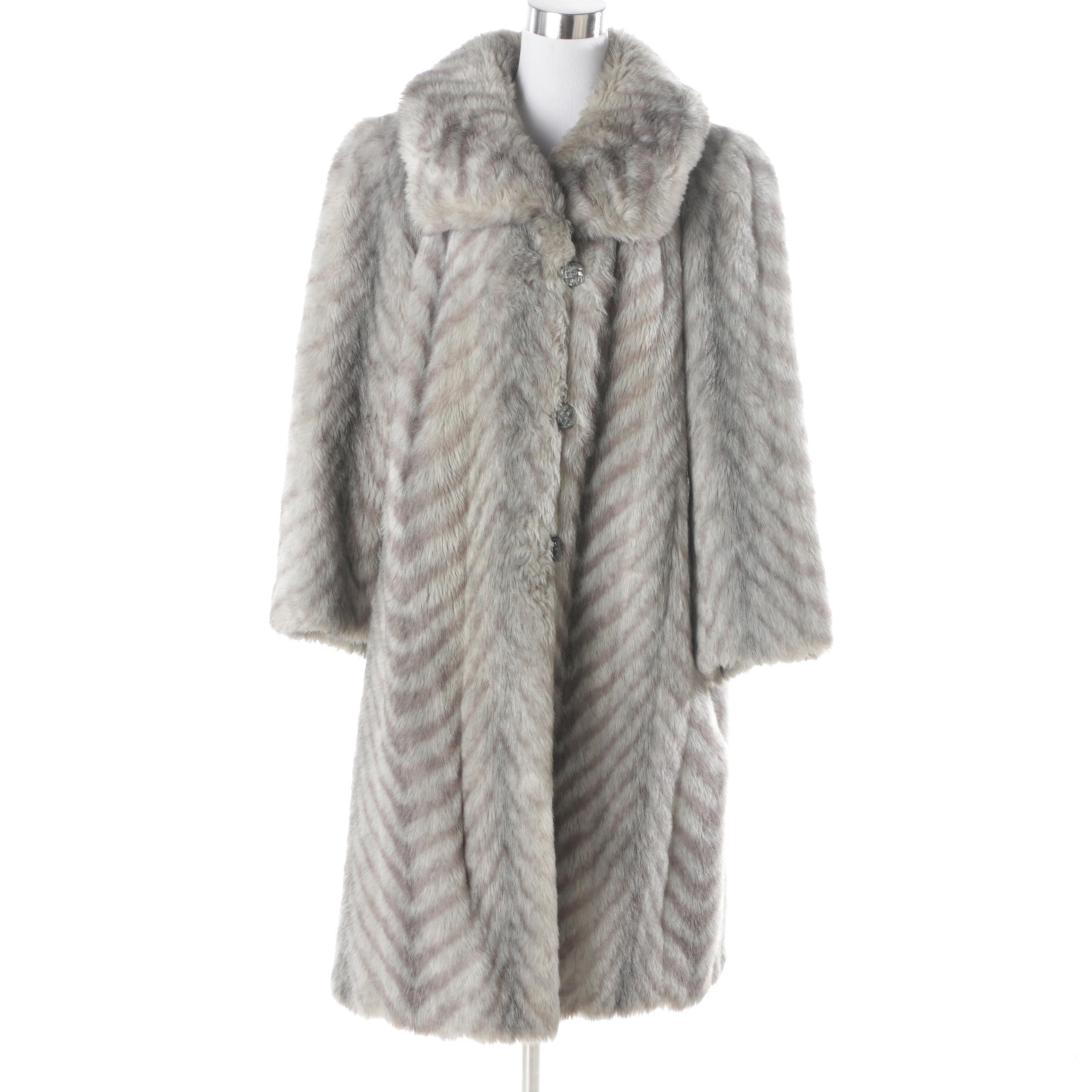 Vintage Sirbain Grey Chevron Faux Fur Coat