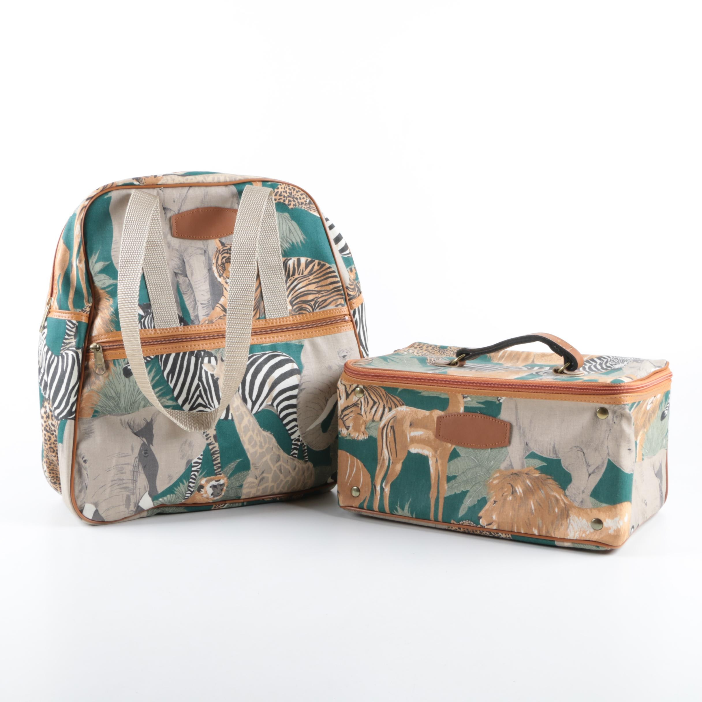 Viator Jungle Themed Canvas Satchel and Storage Box