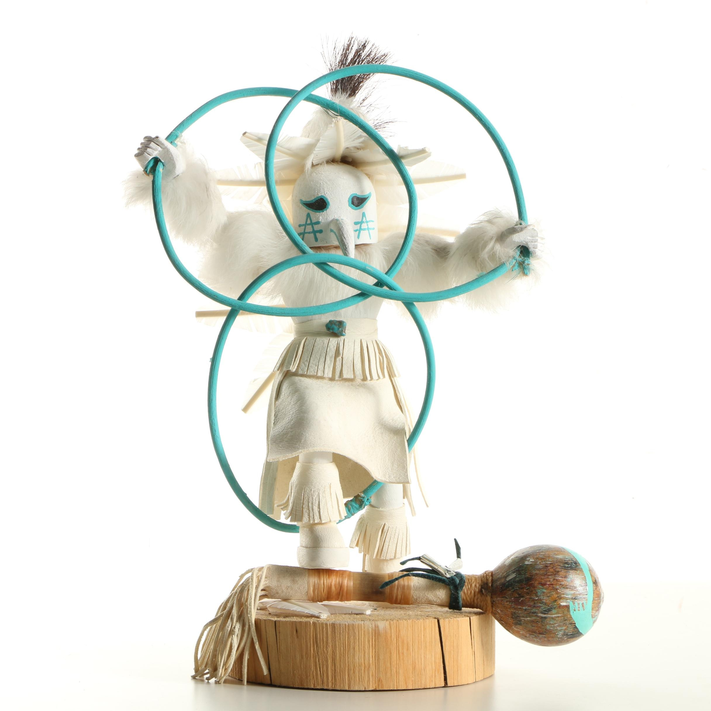 Navajo Style Hoop Dancer Kachina Doll with Rattle