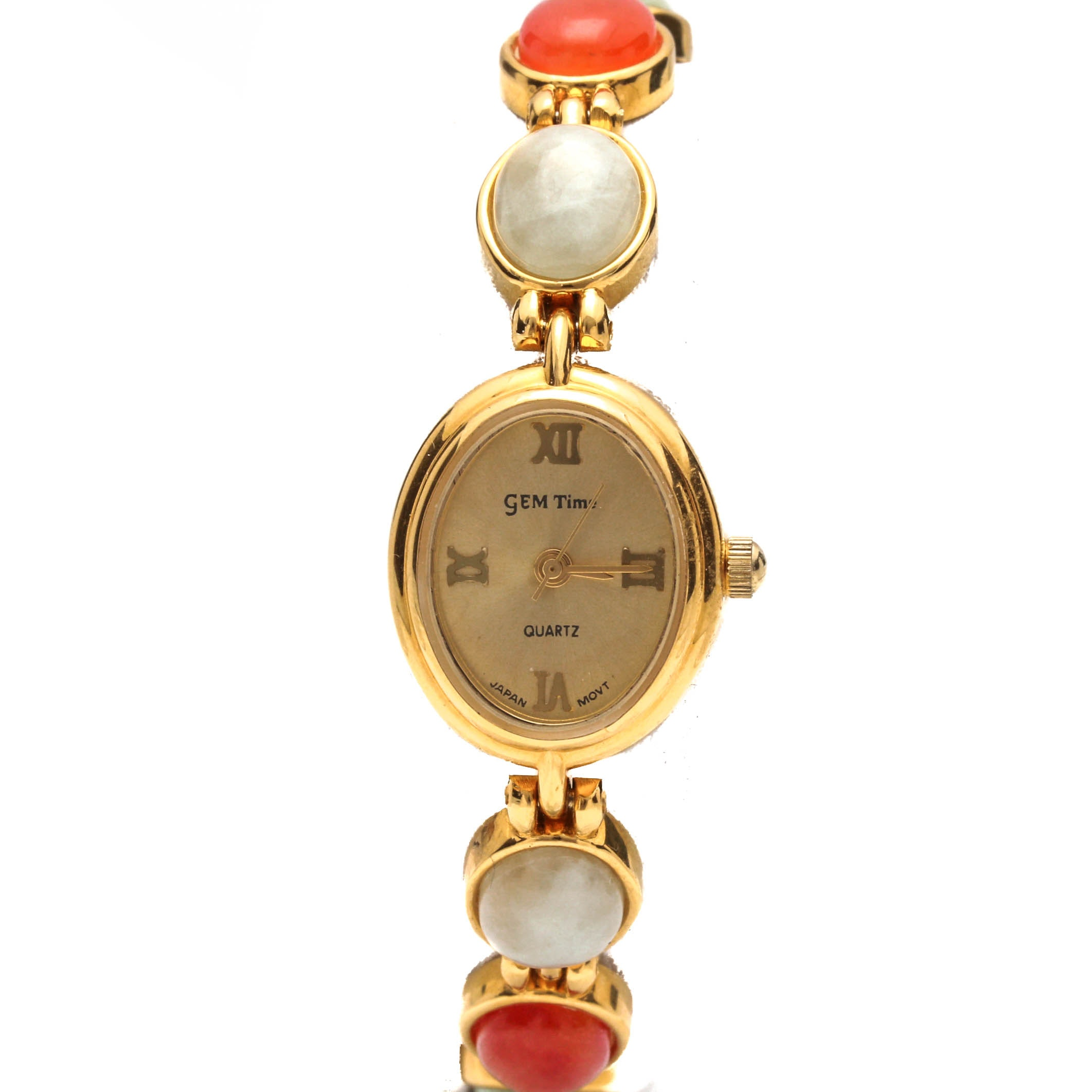 Gem Time Gold Tone Jadeite Wristwatch