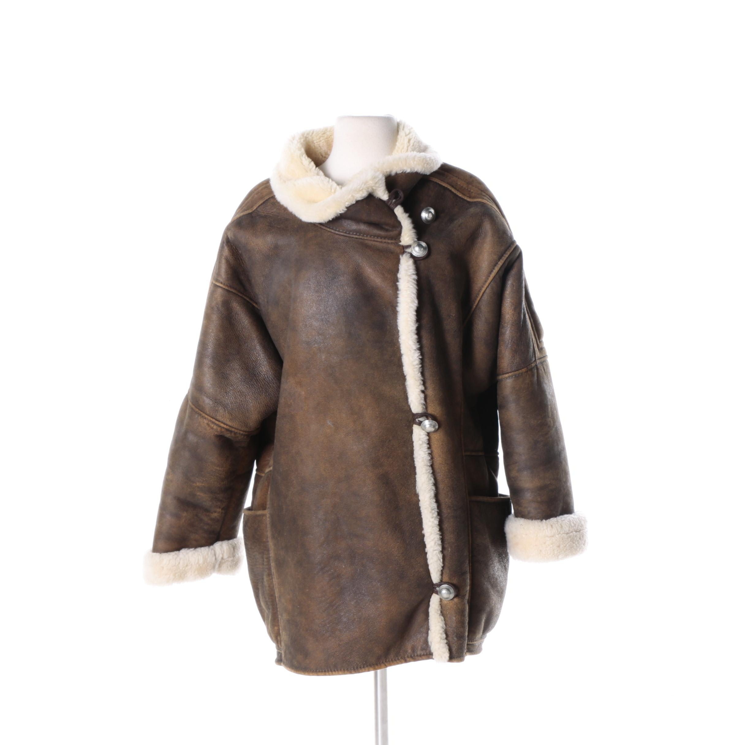 Women's Brown Leather Coat