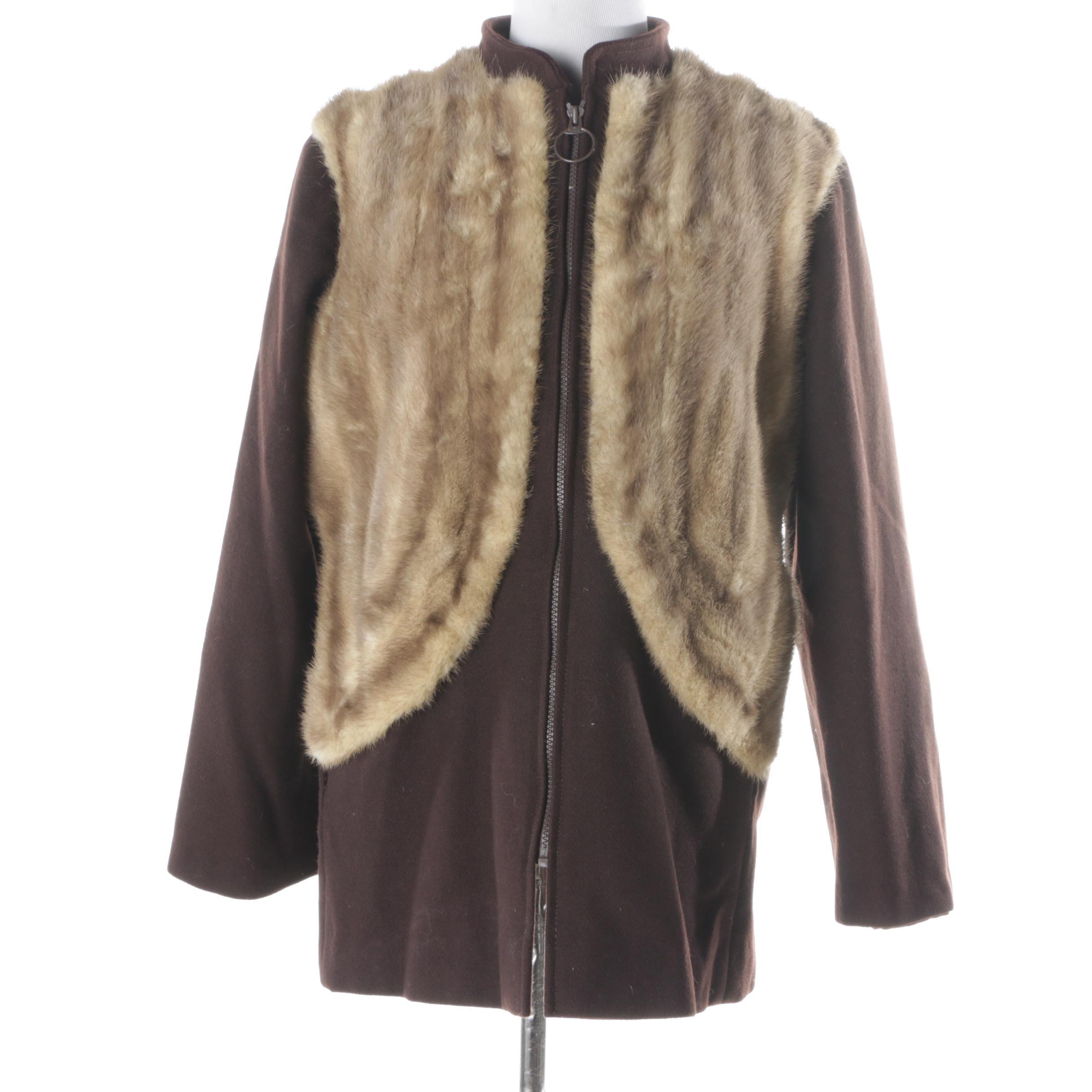 Wool and Mink Fur Jacket