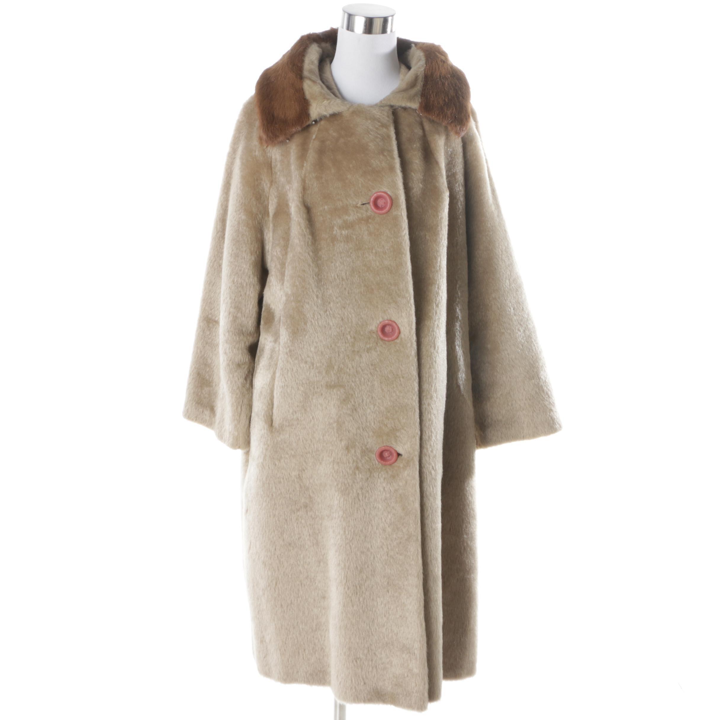 Women's Vintage Coat with Fur Collar
