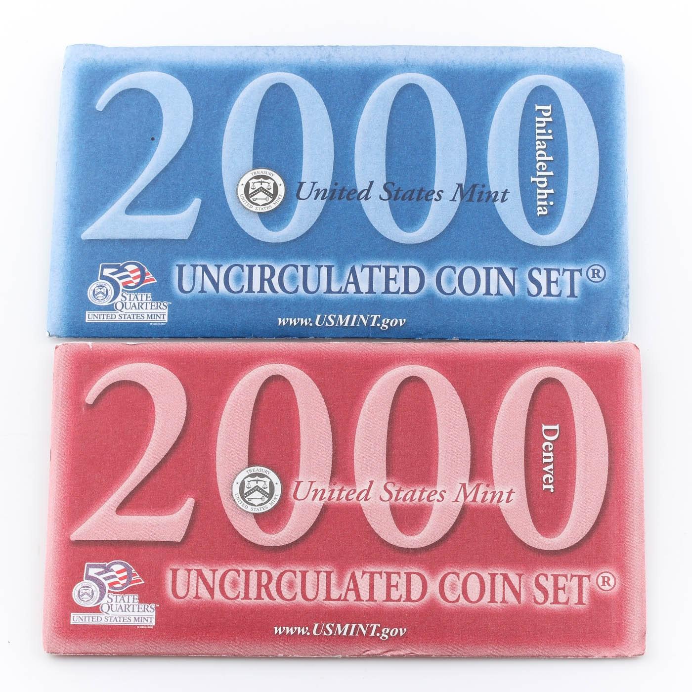 2000 United States Uncirculated Denver and Philadelphia Mint Set