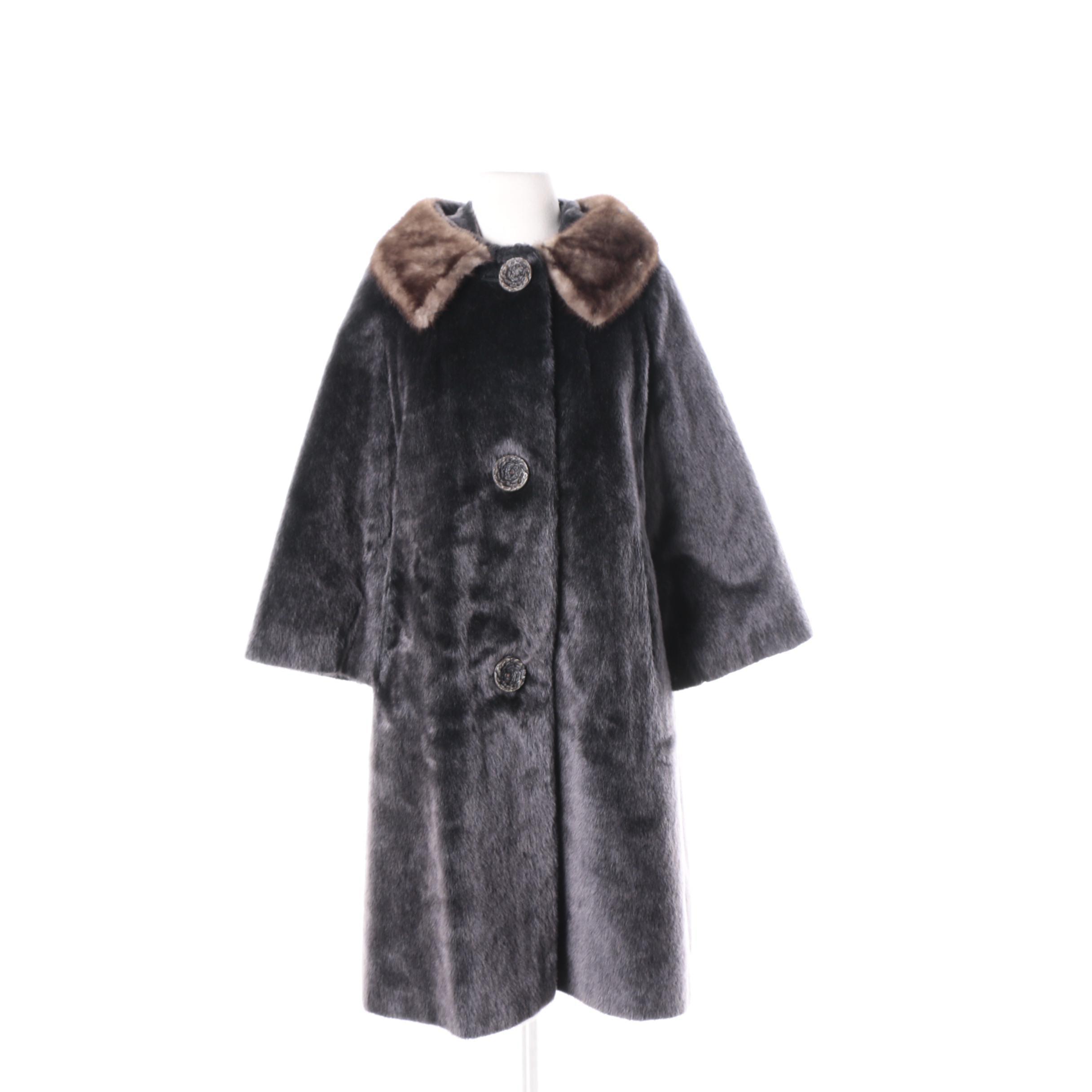 Vintage Strawbridge & Clothier Faux Fur Coat with Mink Fur Collar