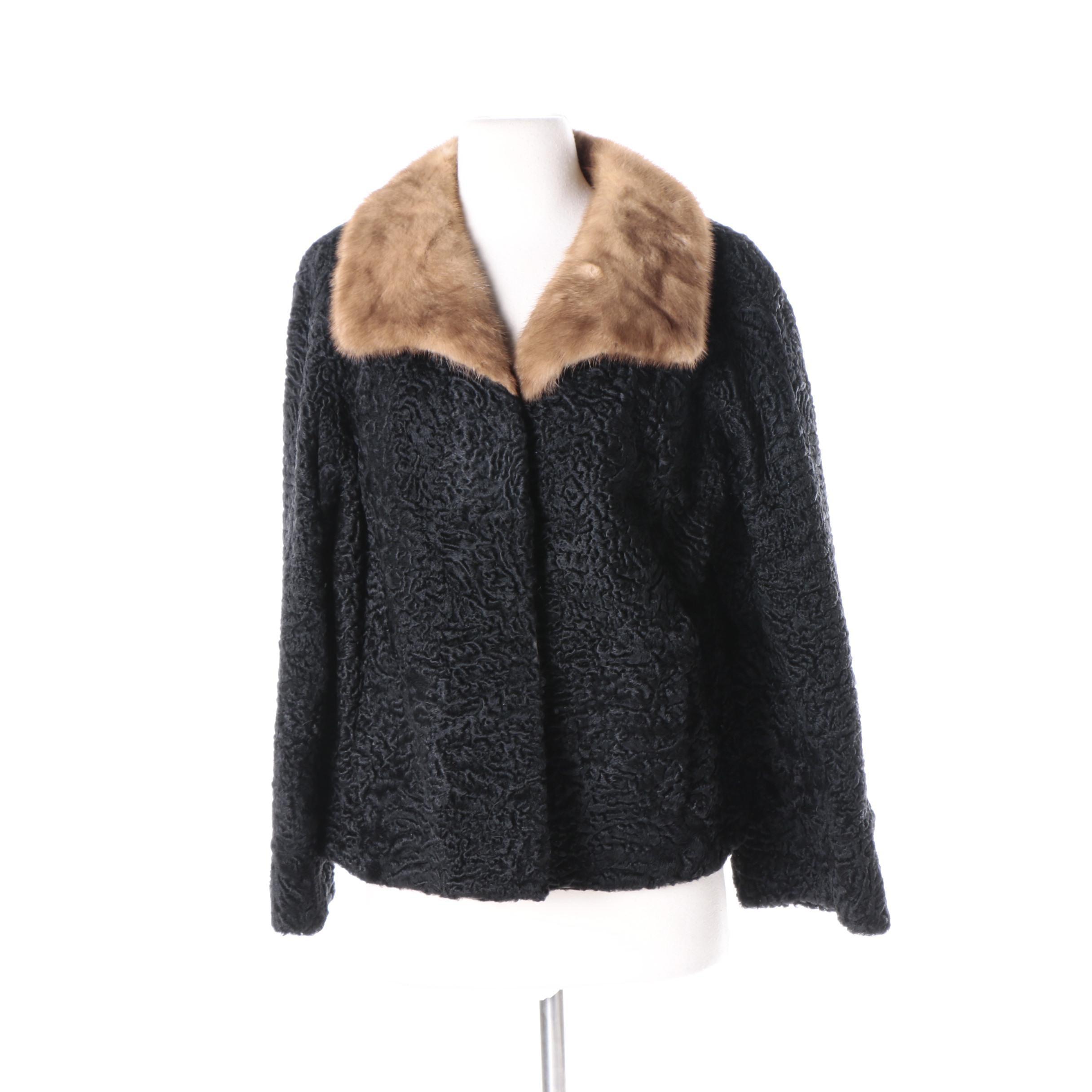 Women's Vintage Persian Lamb Coat with Mink Fur Collar