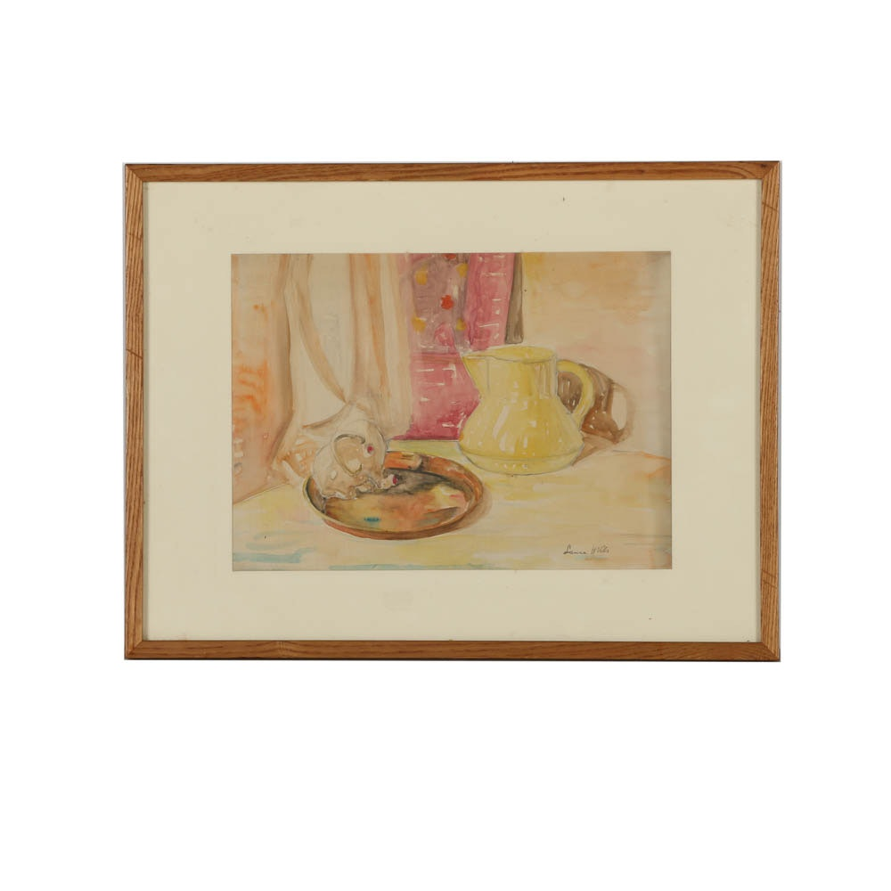 Watercolor Still Life Painting on Paper in the Manner of Laura Coombs Hills