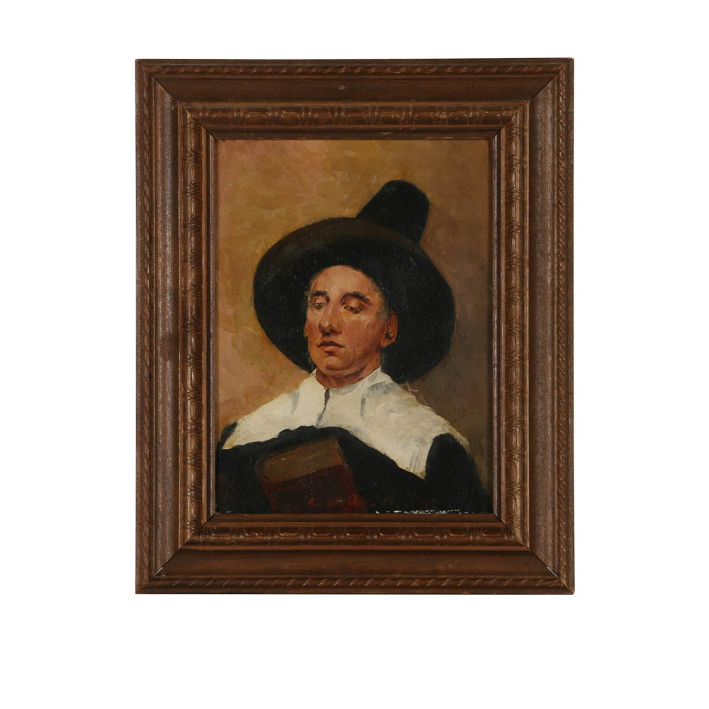 Antique Oil Painting Portrait of a Pilgrim