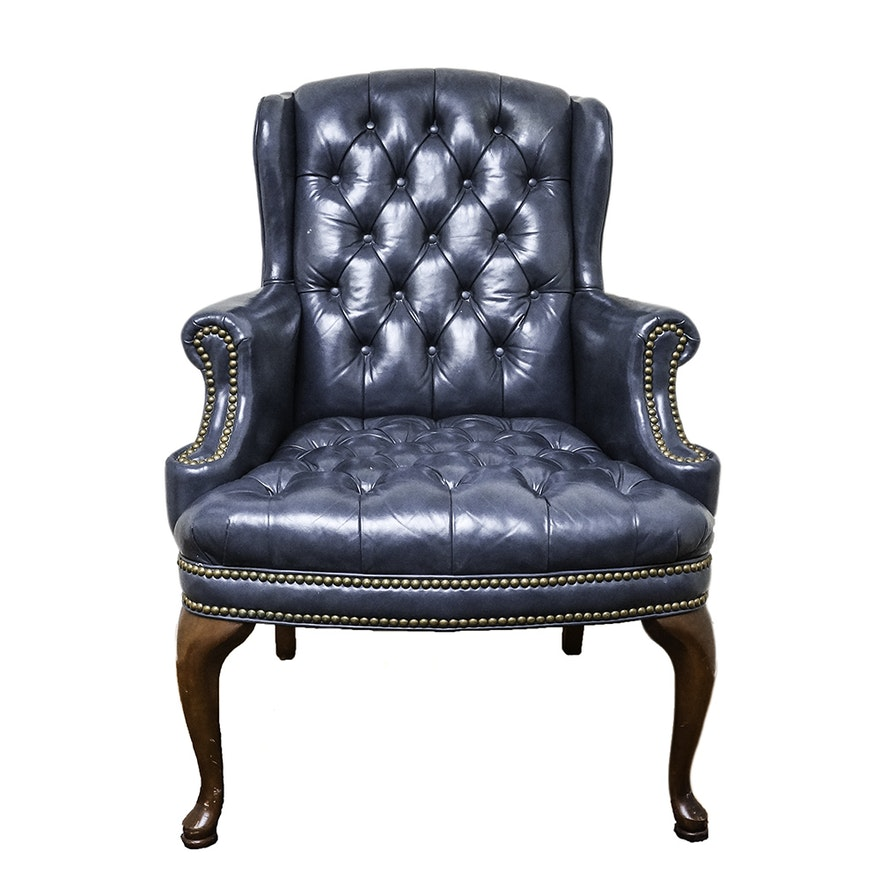 Vintage Queen Anne Style Wingback Chair ... - Vintage Queen Anne Style Wingback Chair : EBTH