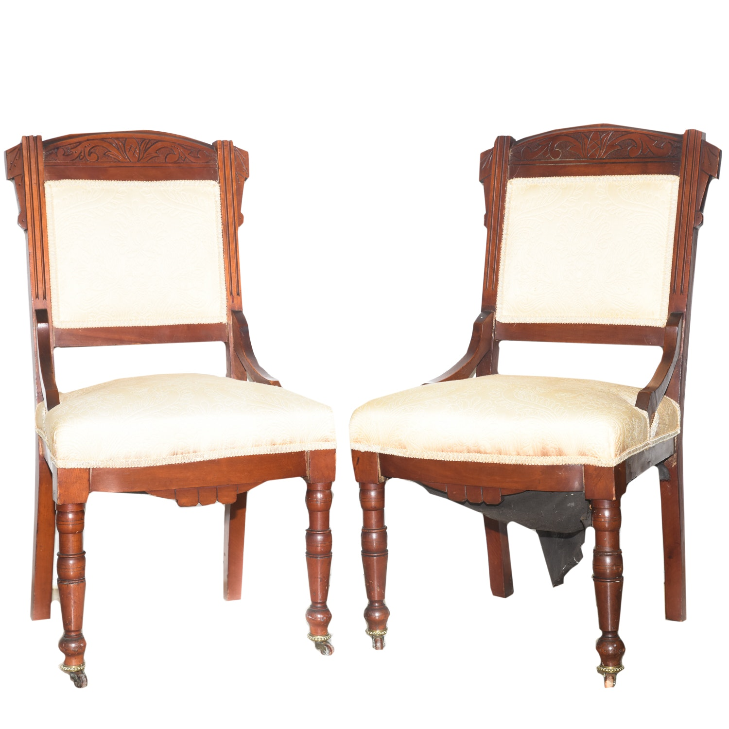 Pair of Antique Victorian Style Accent Chairs