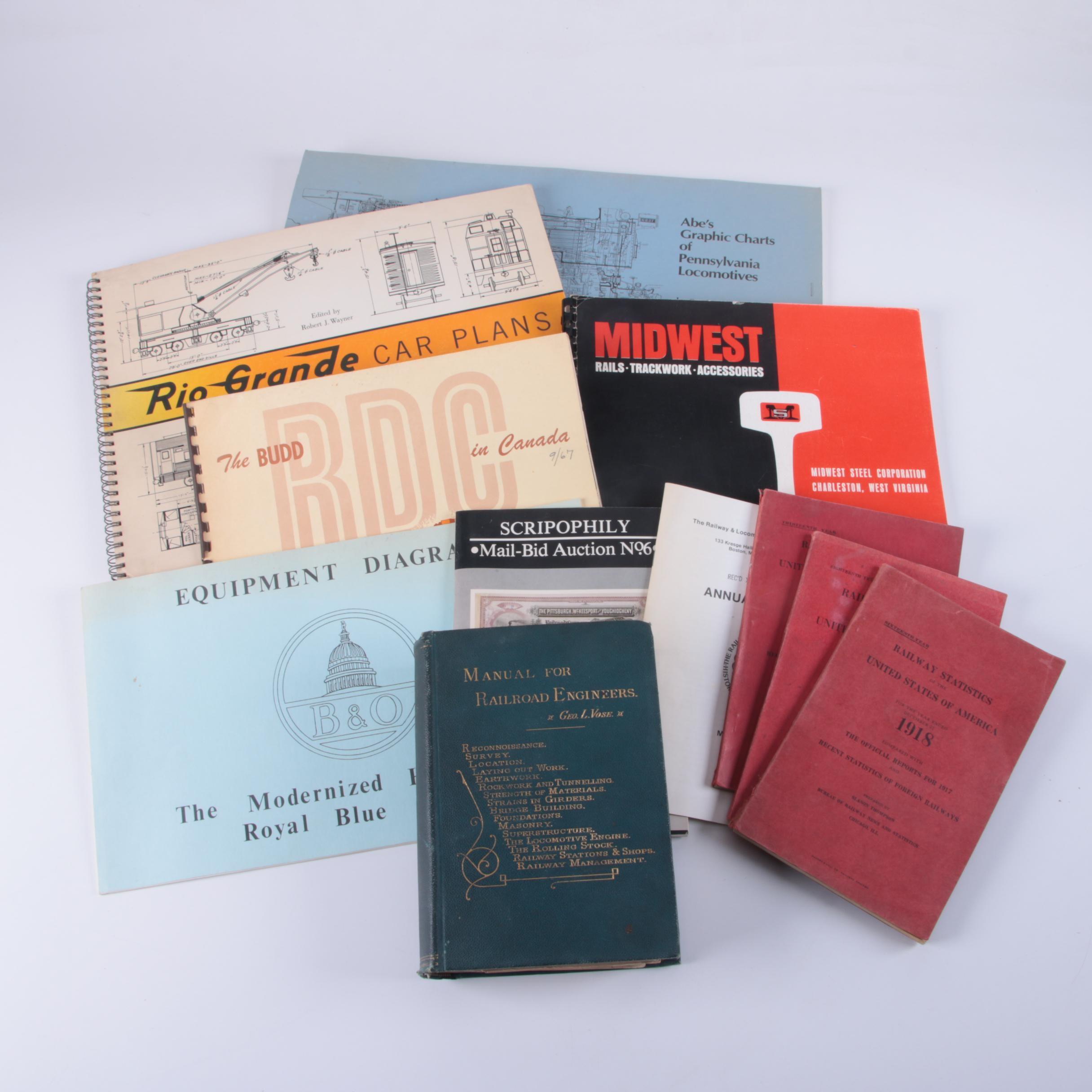 """Books on Trains including """"Rio Grande Car Plans"""""""