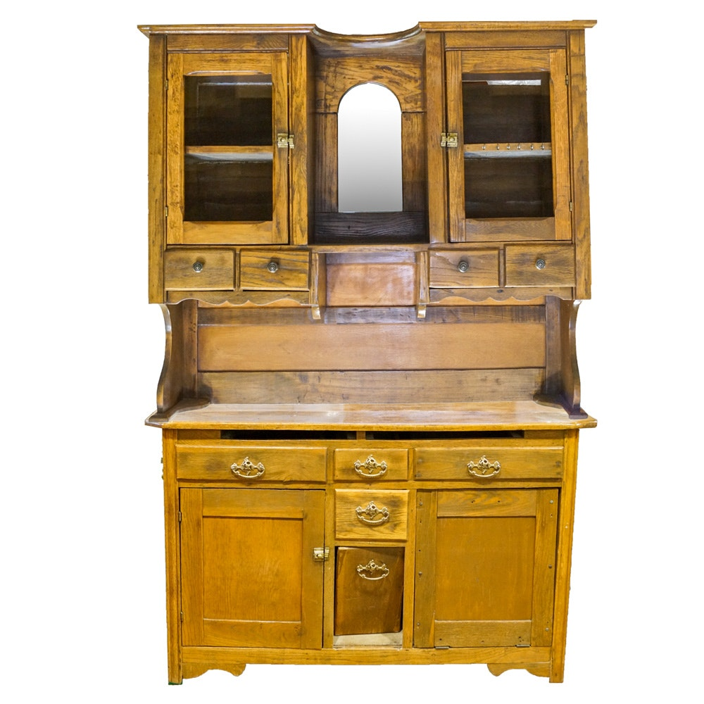 Antique Oak and Maple Hutch Cabinet