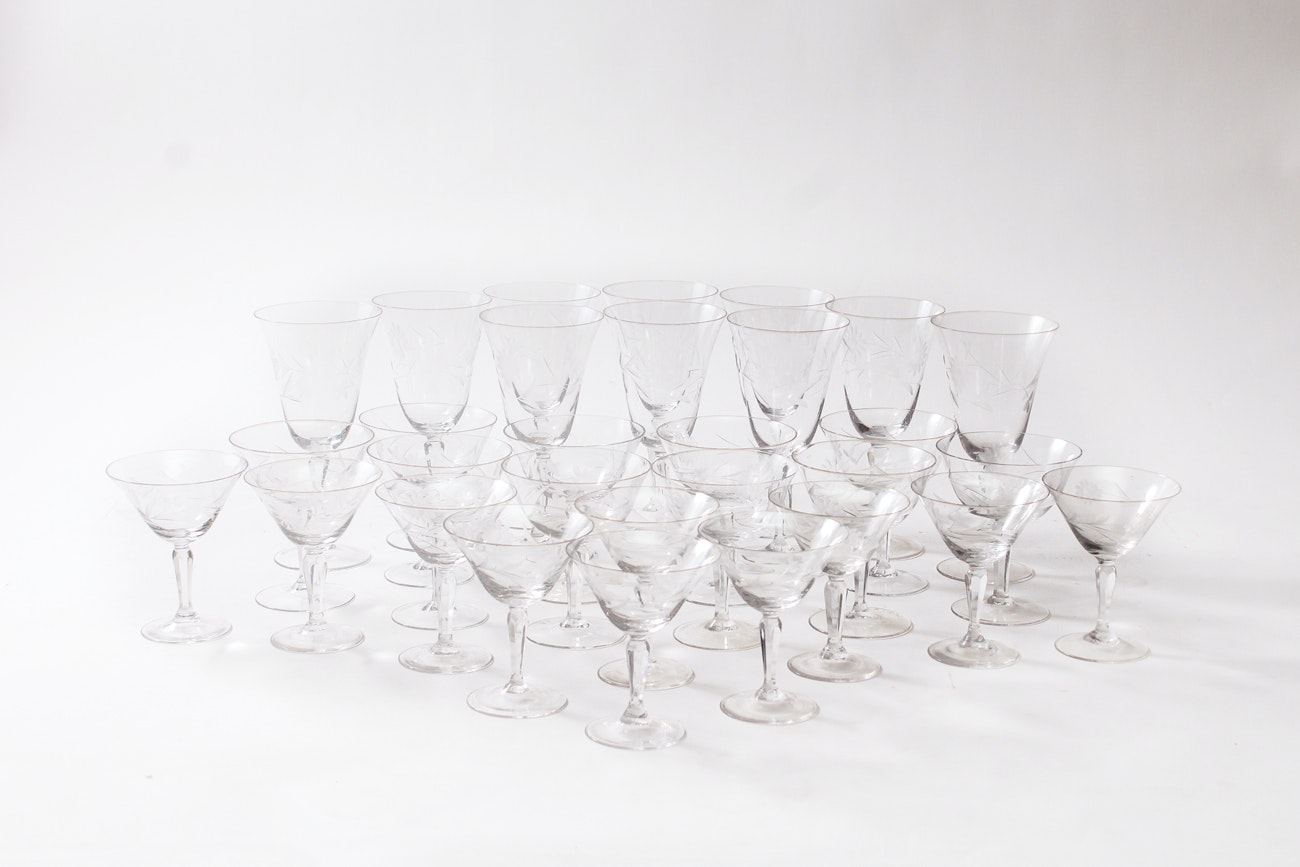 Vintage Set of Etched Crystal Stemware