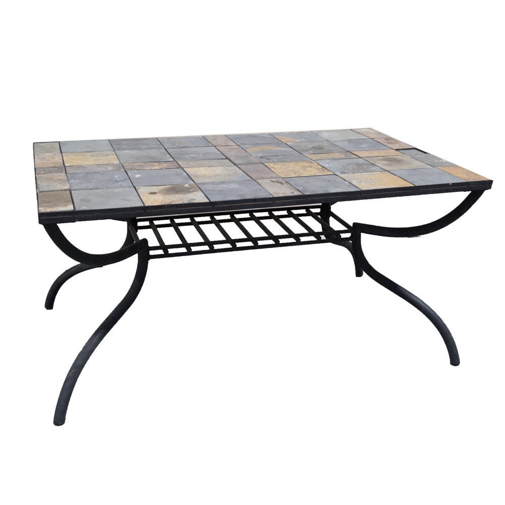 Metal and Tile Patio Table