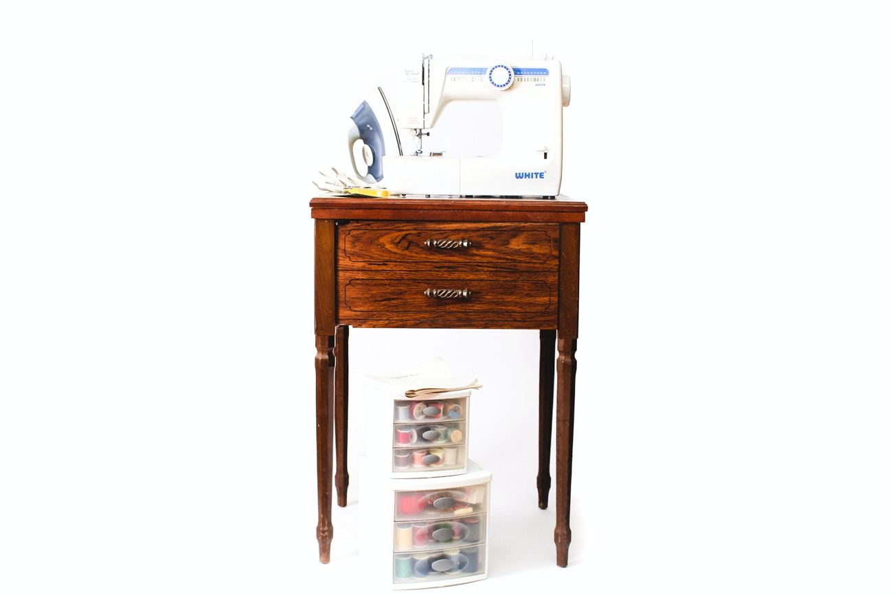 Sewing Machine by White with Vintage Sewing Cabinet and Supplies