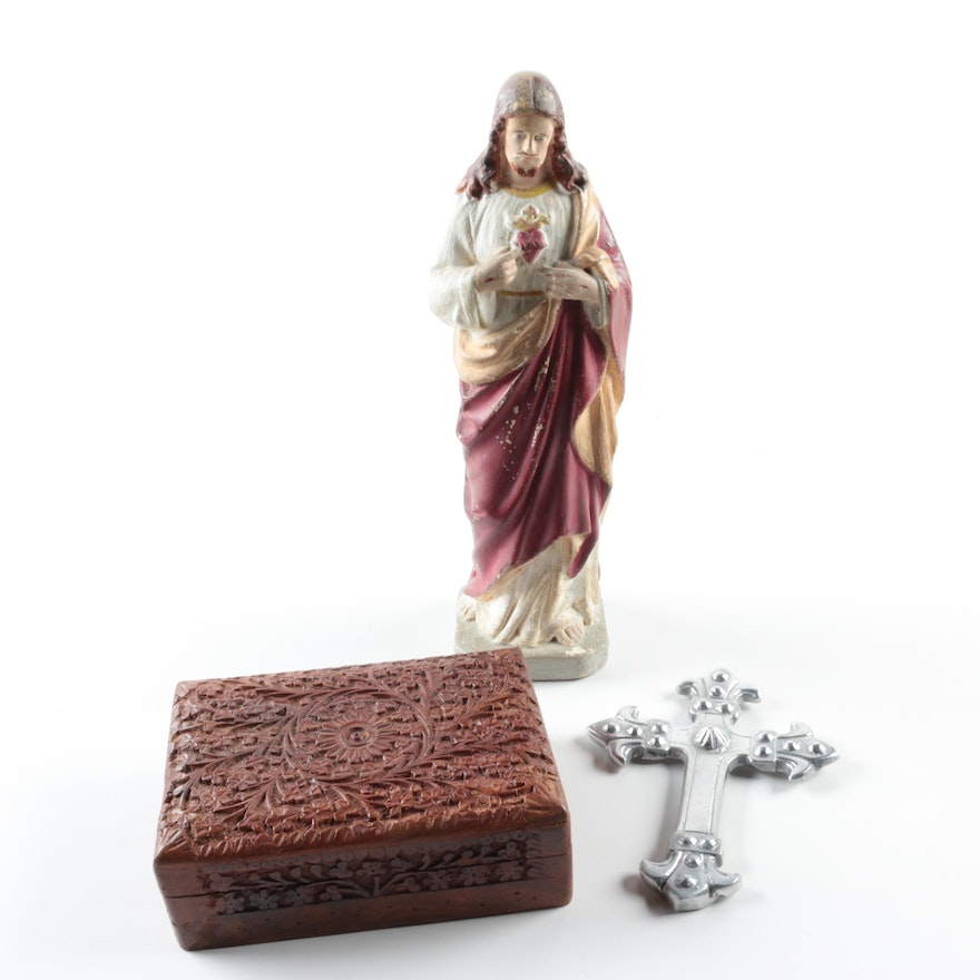 Sacred Heart Jesus Chalkware Figurine And Other Home D Cor