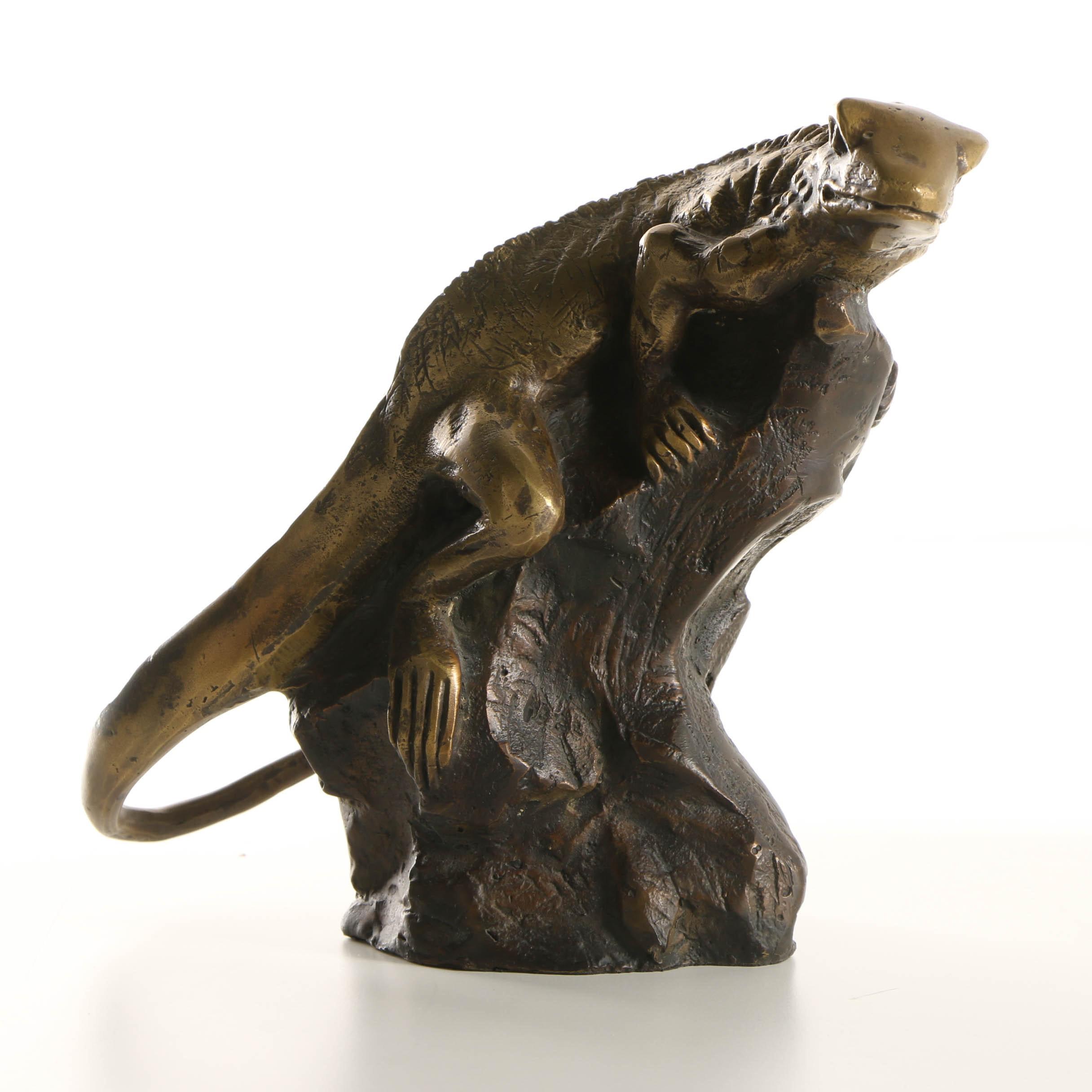 Brass Sculpture of a Lizard