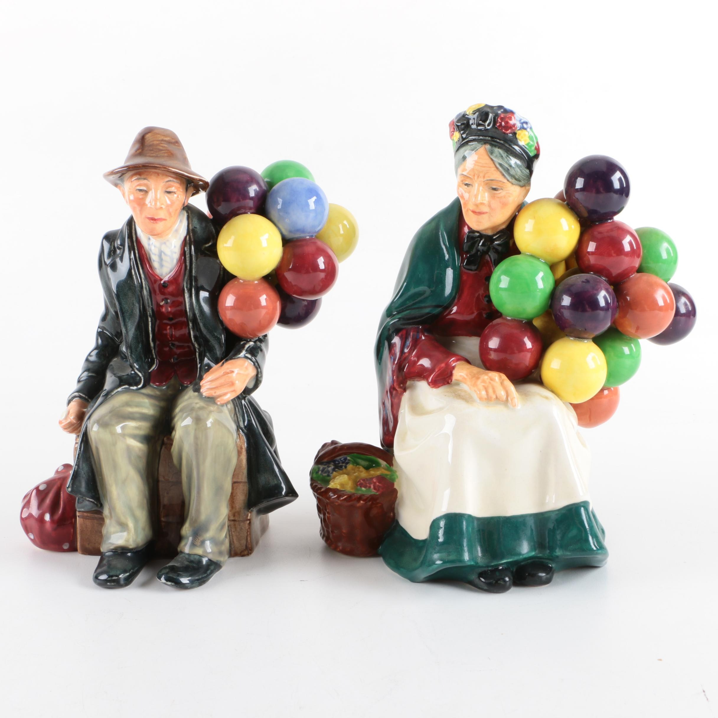 "Royal Doulton ""The Balloon Man"" and ""The Old Balloon Seller"" Porcelain Figurines"