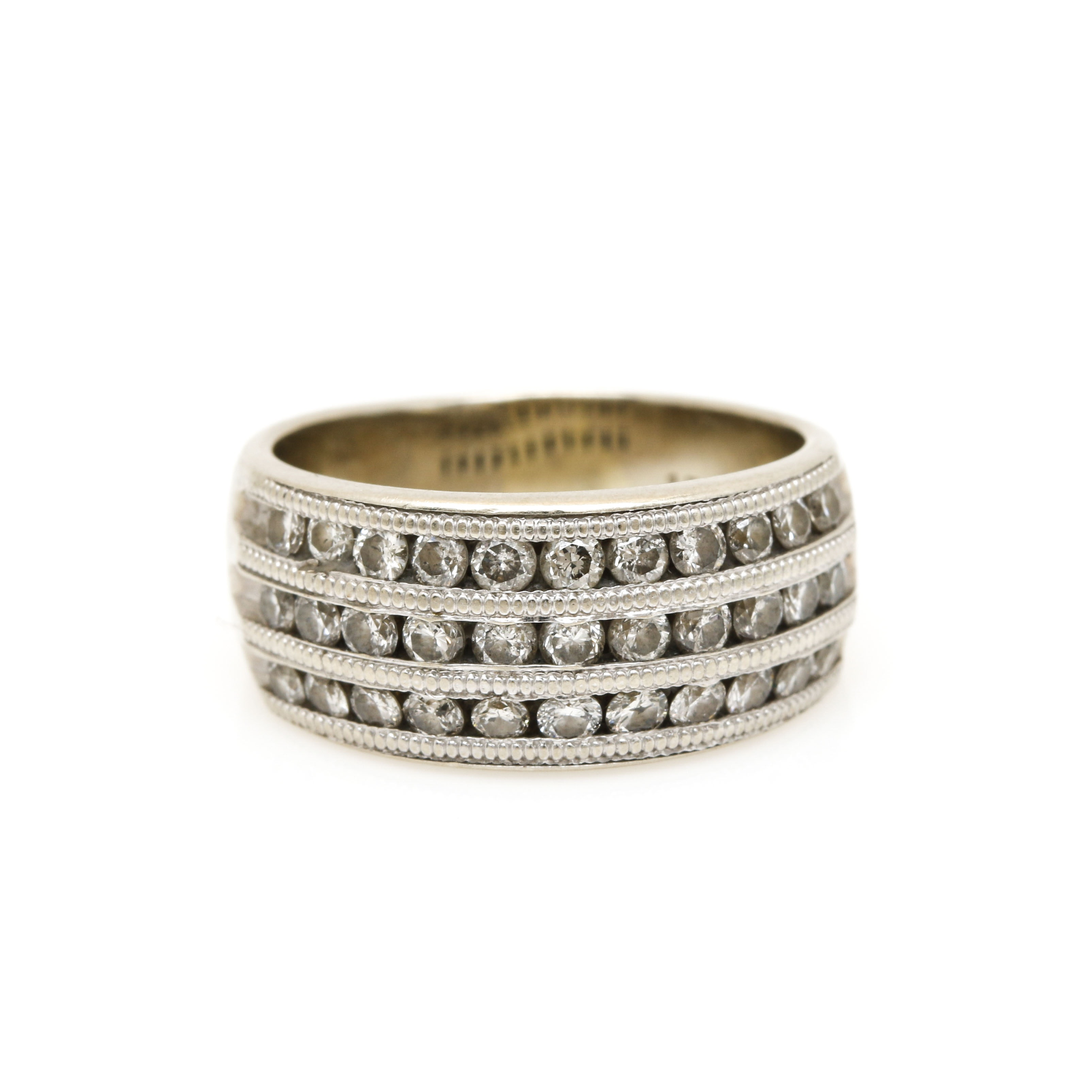 14K White Gold 0.99 CTW Diamond Channel Band