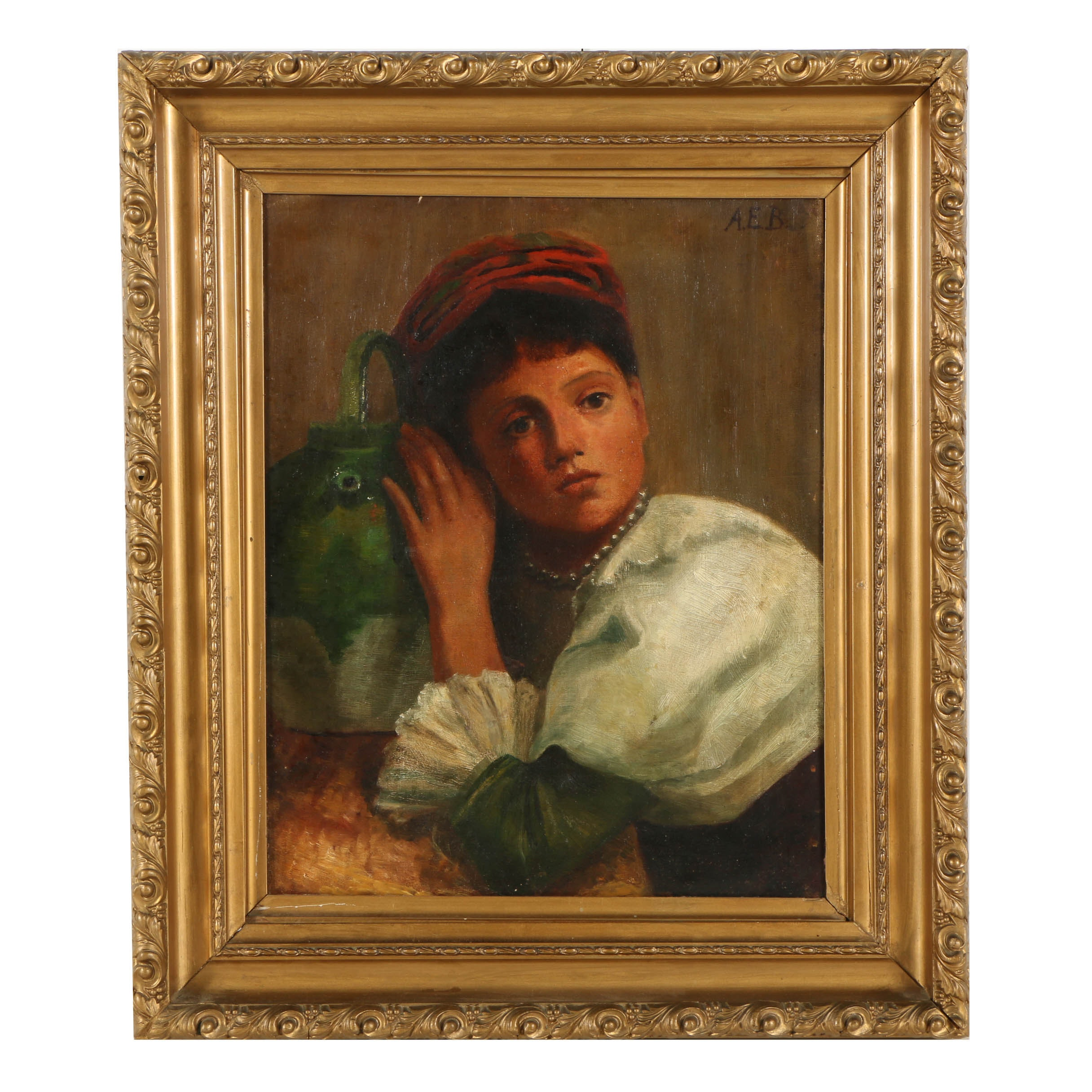 19th Century Oil Painting Portrait of Young Woman