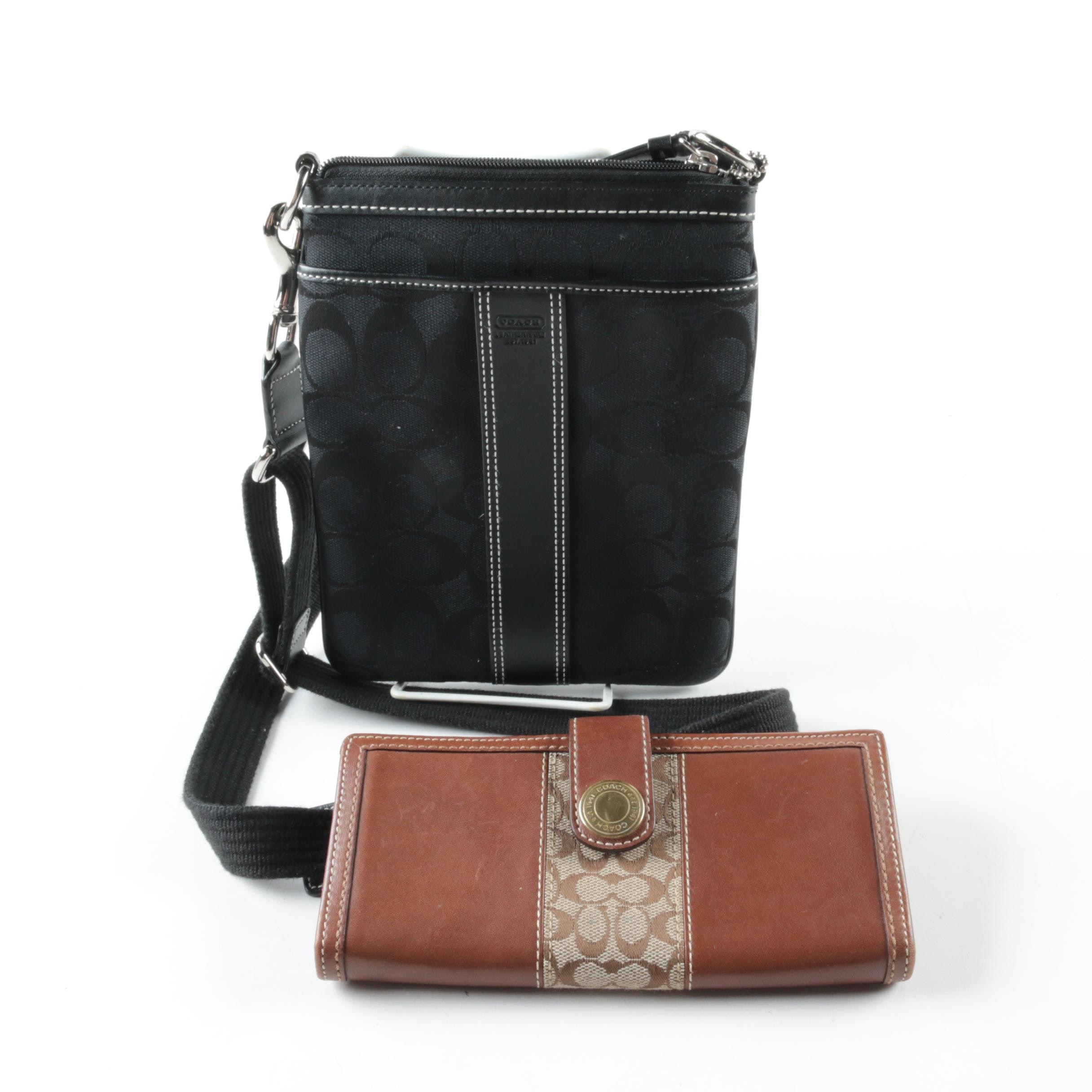 Coach Signature C Black Canvas and Leather Swing Pack and Brown Leather Wallet