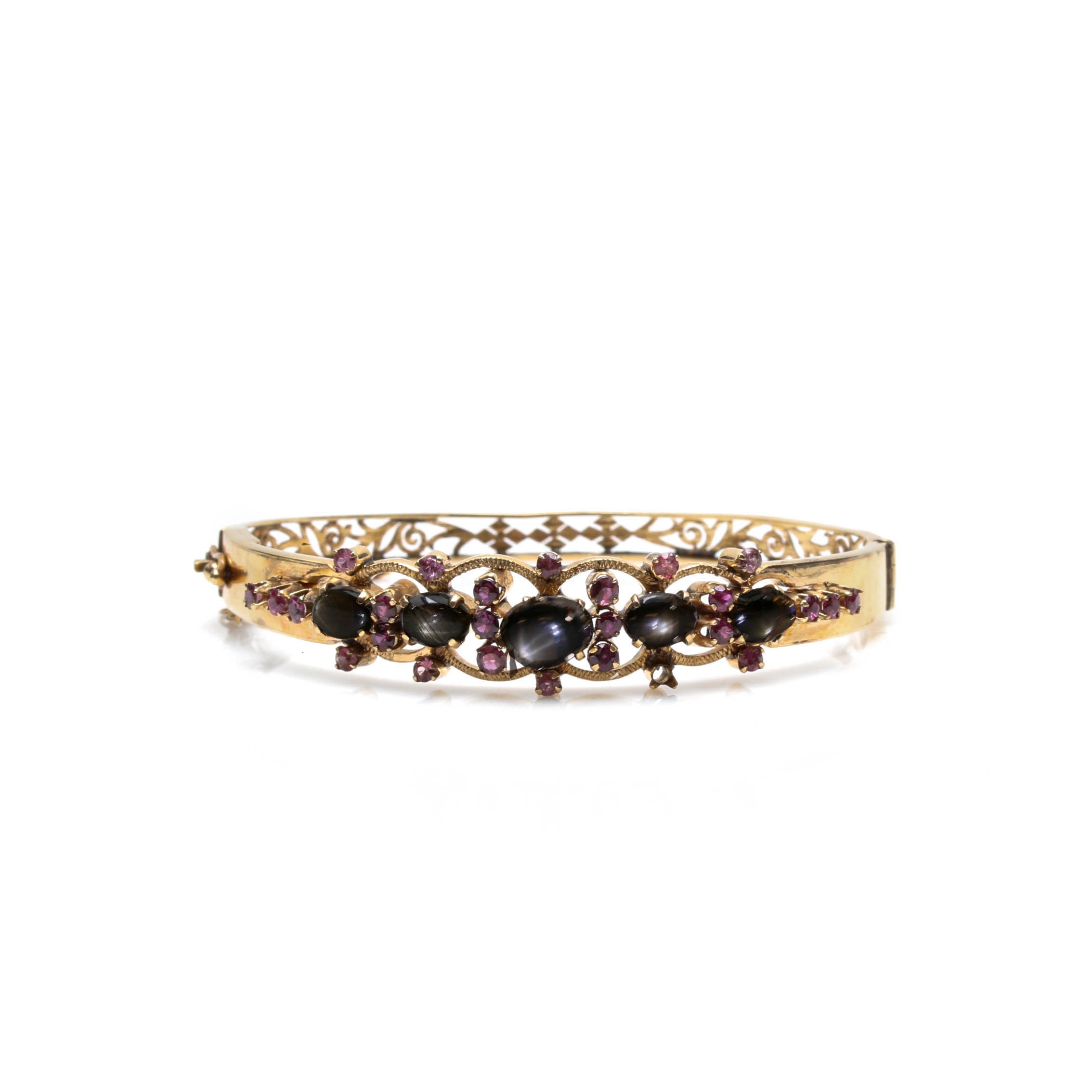 14K Yellow Gold Black Star Sapphire and Ruby Bangle Bracelet