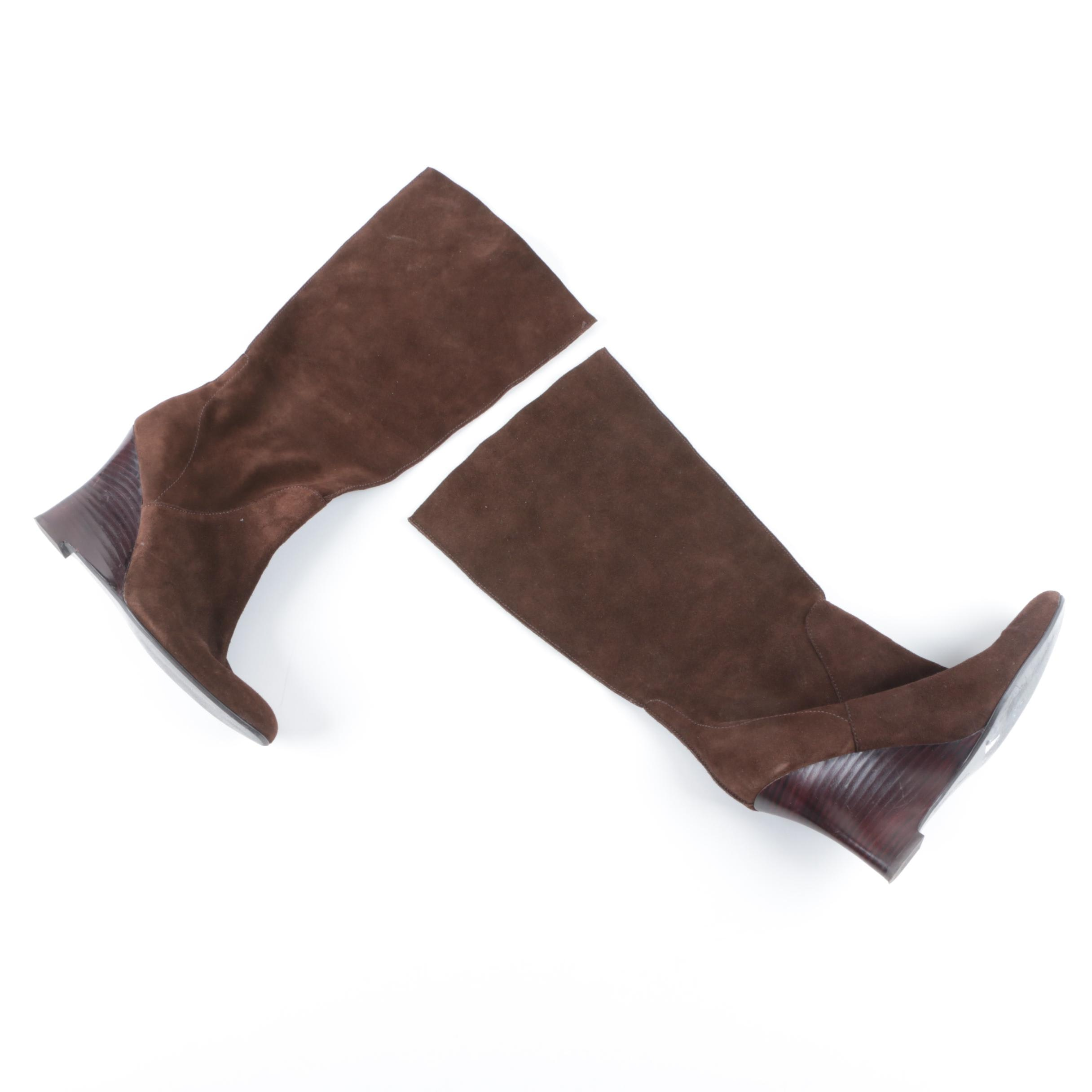 Women's Calvin Klein Brown Suede Wedge-Heel Boots