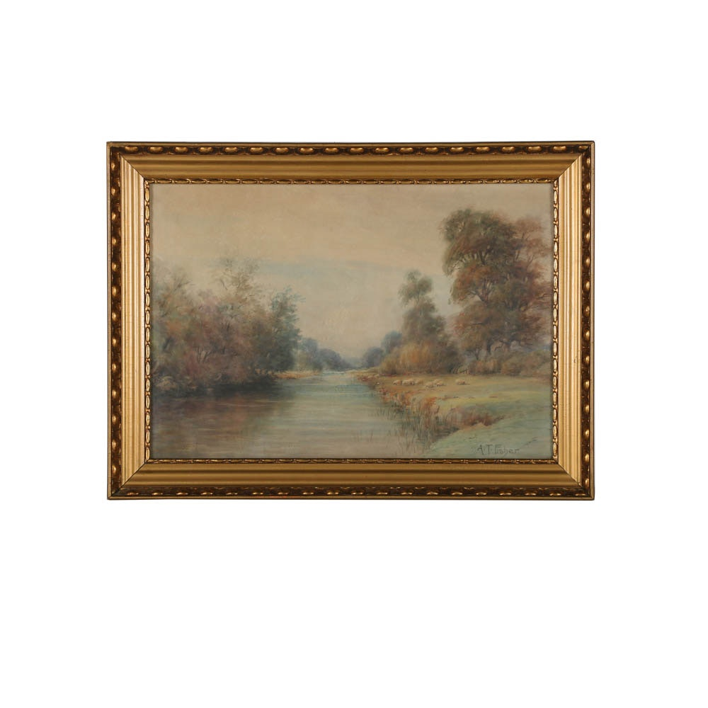 A. T. Fisher Watercolor Painting of Bucolic Scene