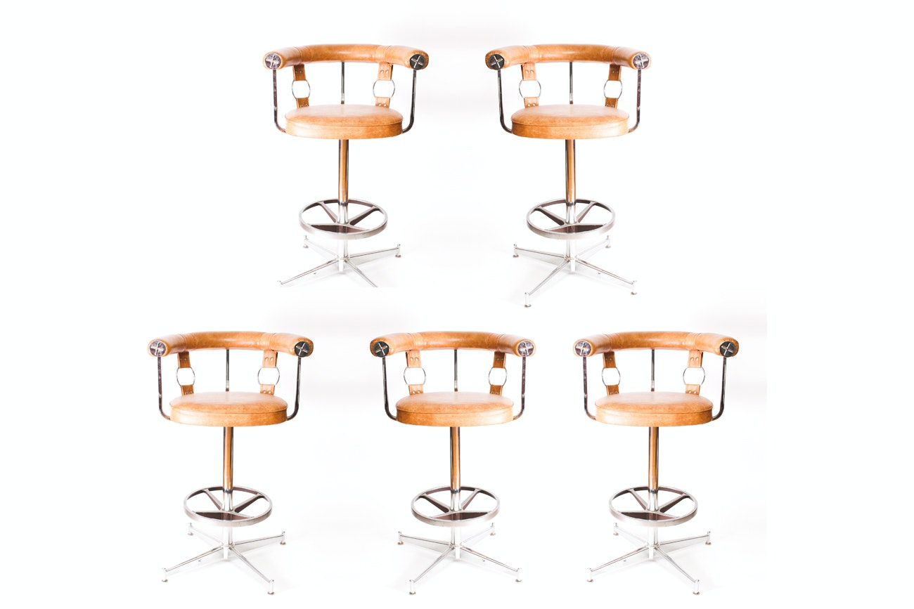 Vintage Mid Century Modern Swivel Bar Stools by Daystrom Furniture Company