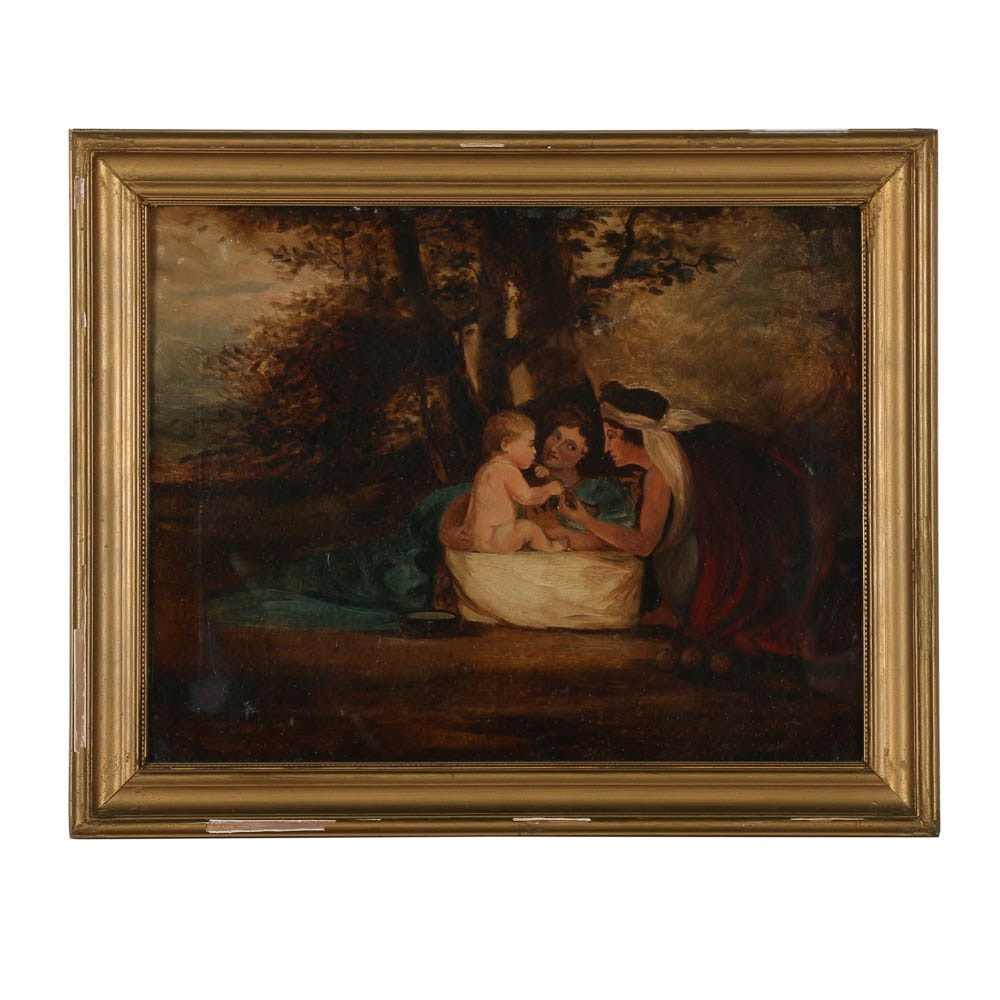 Antique Oil Painting of Women and Child