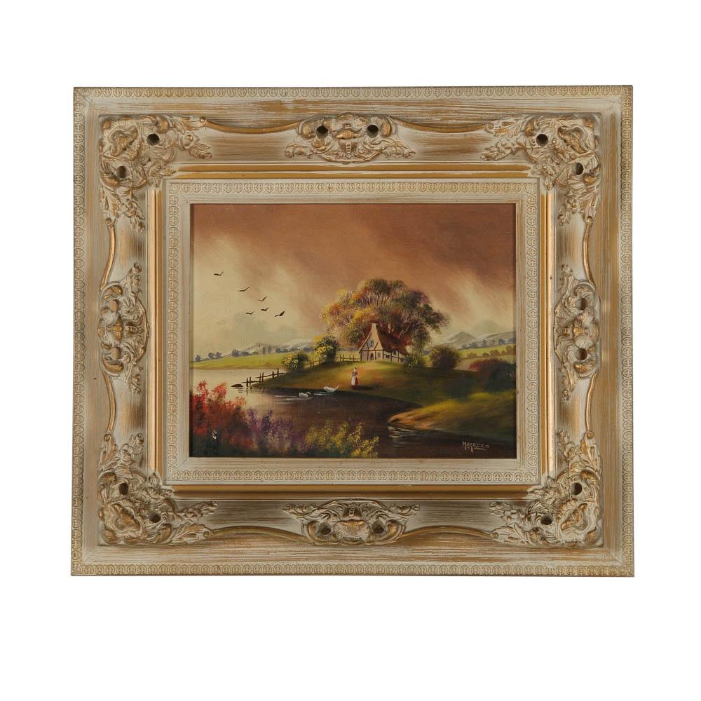 Morezzo Oil Painting of Rustic Scene