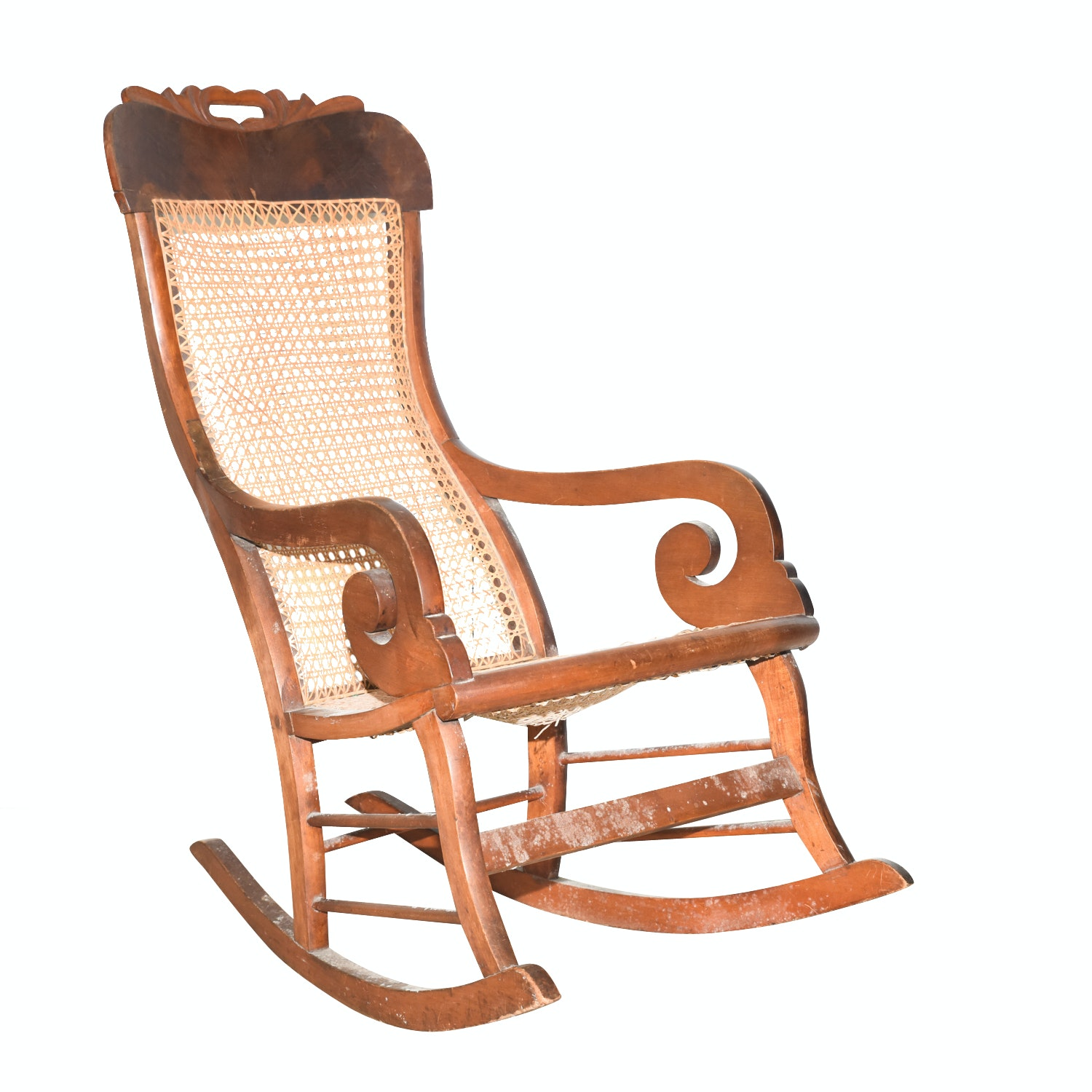 Wooden Cane Backed Rocking Chair by P. Gustine
