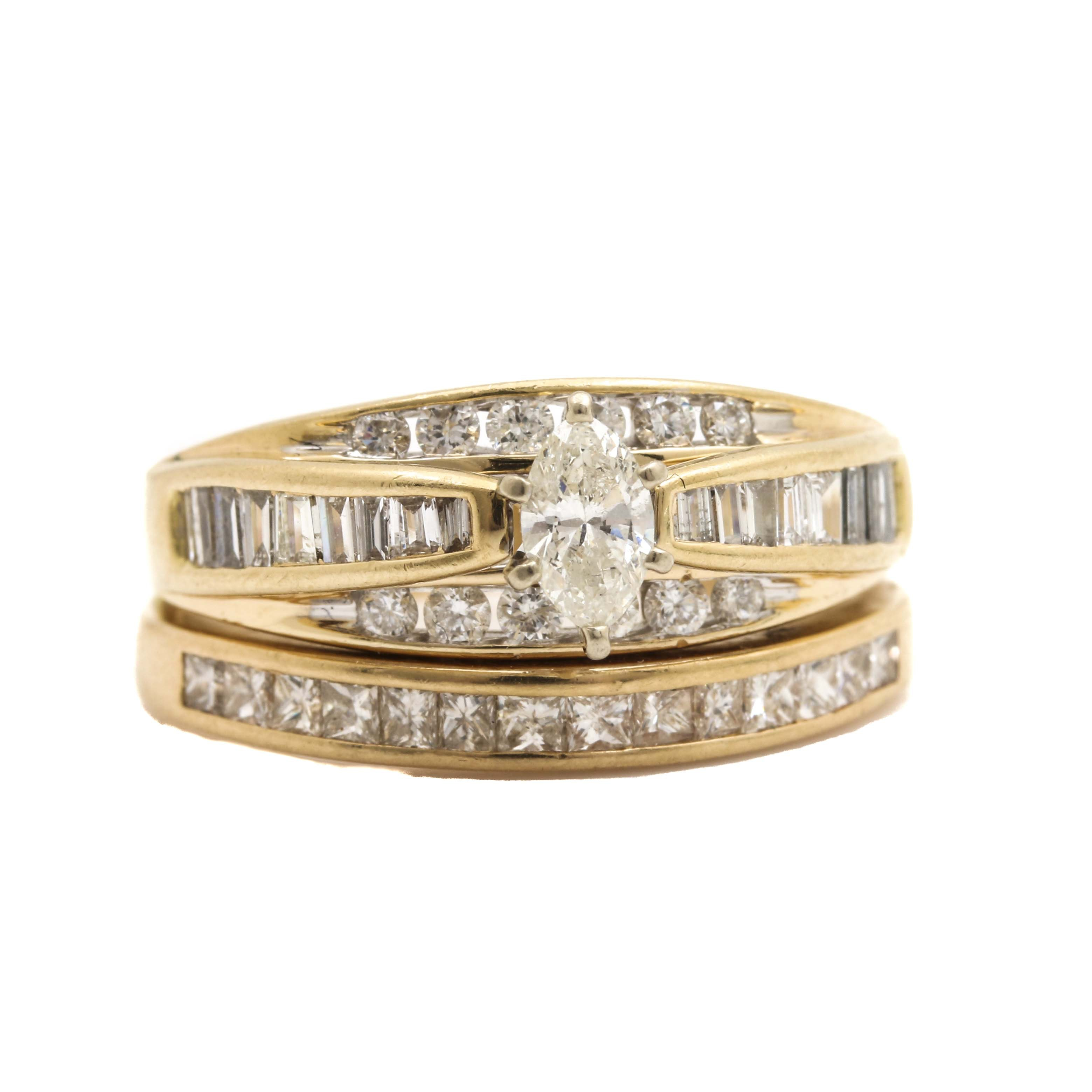 14K Yellow Gold 1.67 CTW Diamond Bridal Set