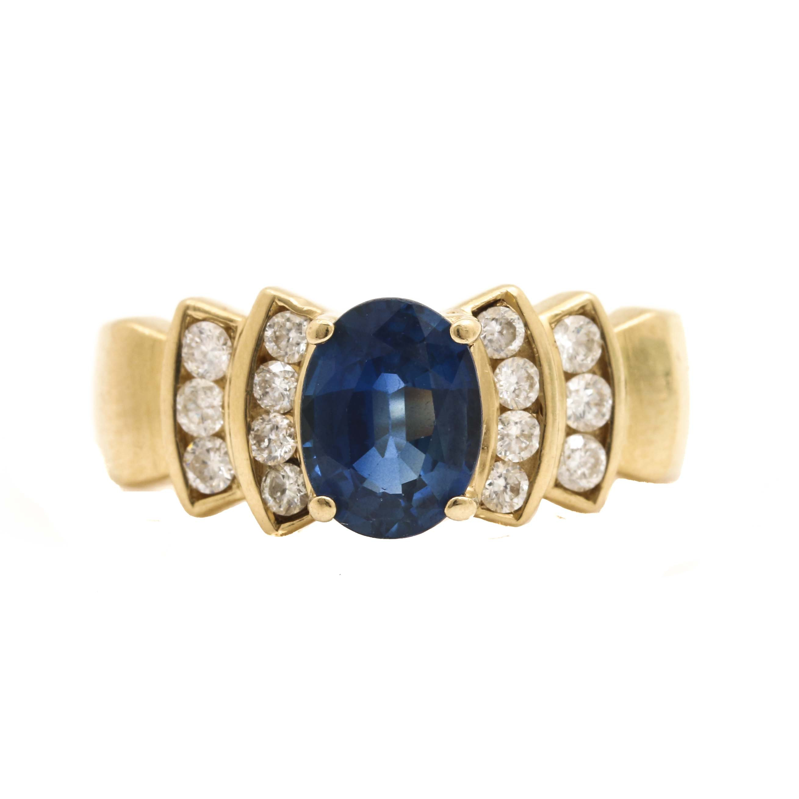 LeVian 14K Yellow Gold Sapphire and Diamond Ring