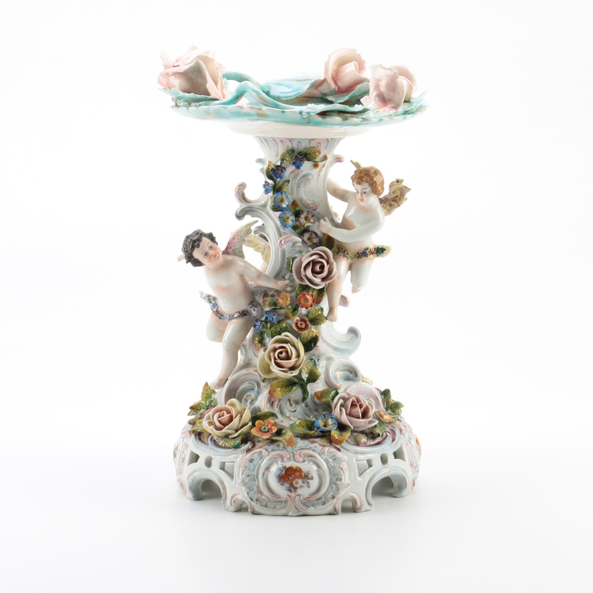 Ornate Floral Motif Porcelain Candle Holder