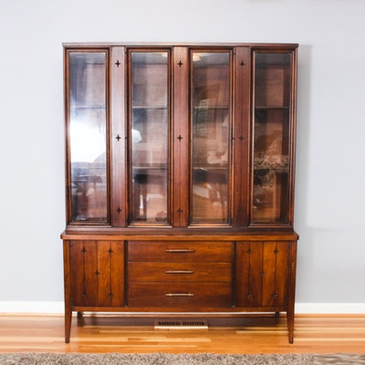 Walnut Art Deco Liquor Cabinet Ebth