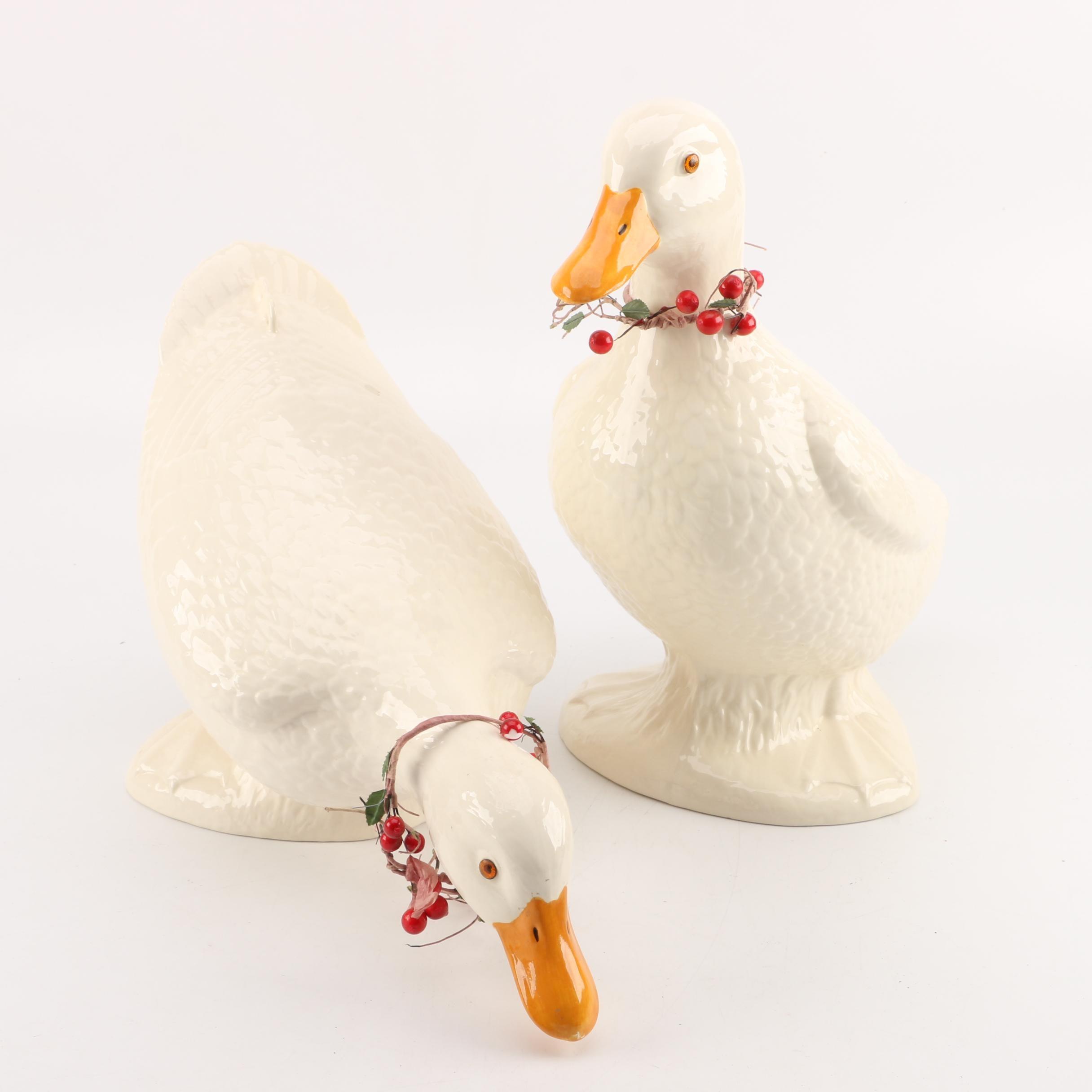 Vintage Hand-Painted Ceramic Duck Figurines