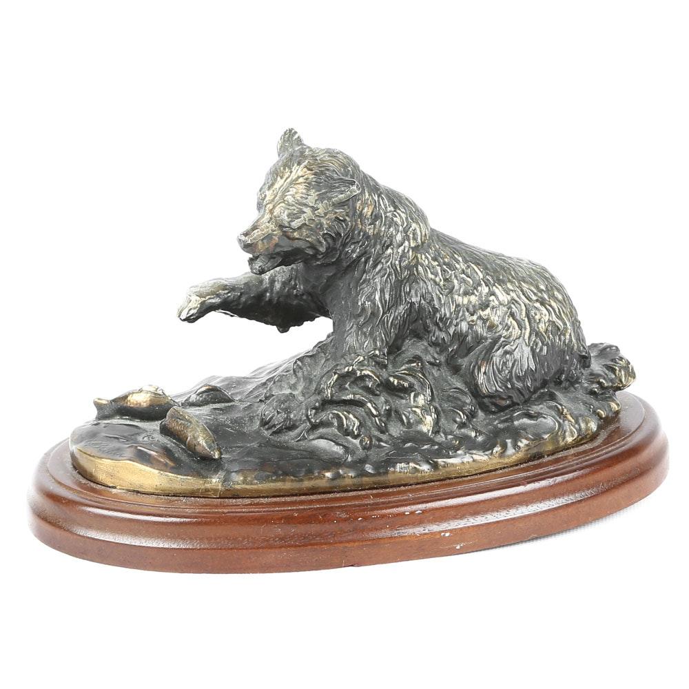 Signed O'Brien Bronze Bear Figurine
