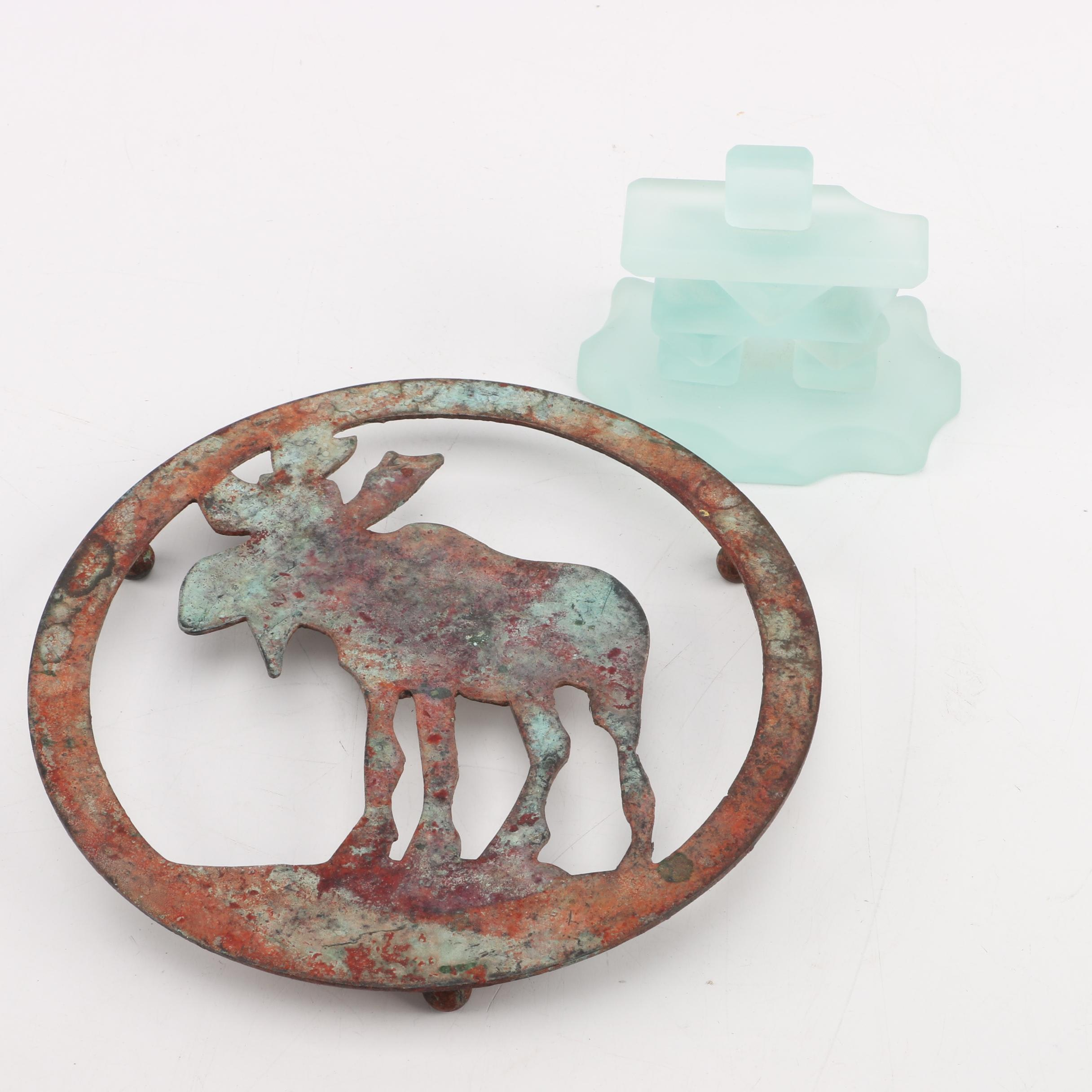 Metal Moose Trivet and Glass Paperweight