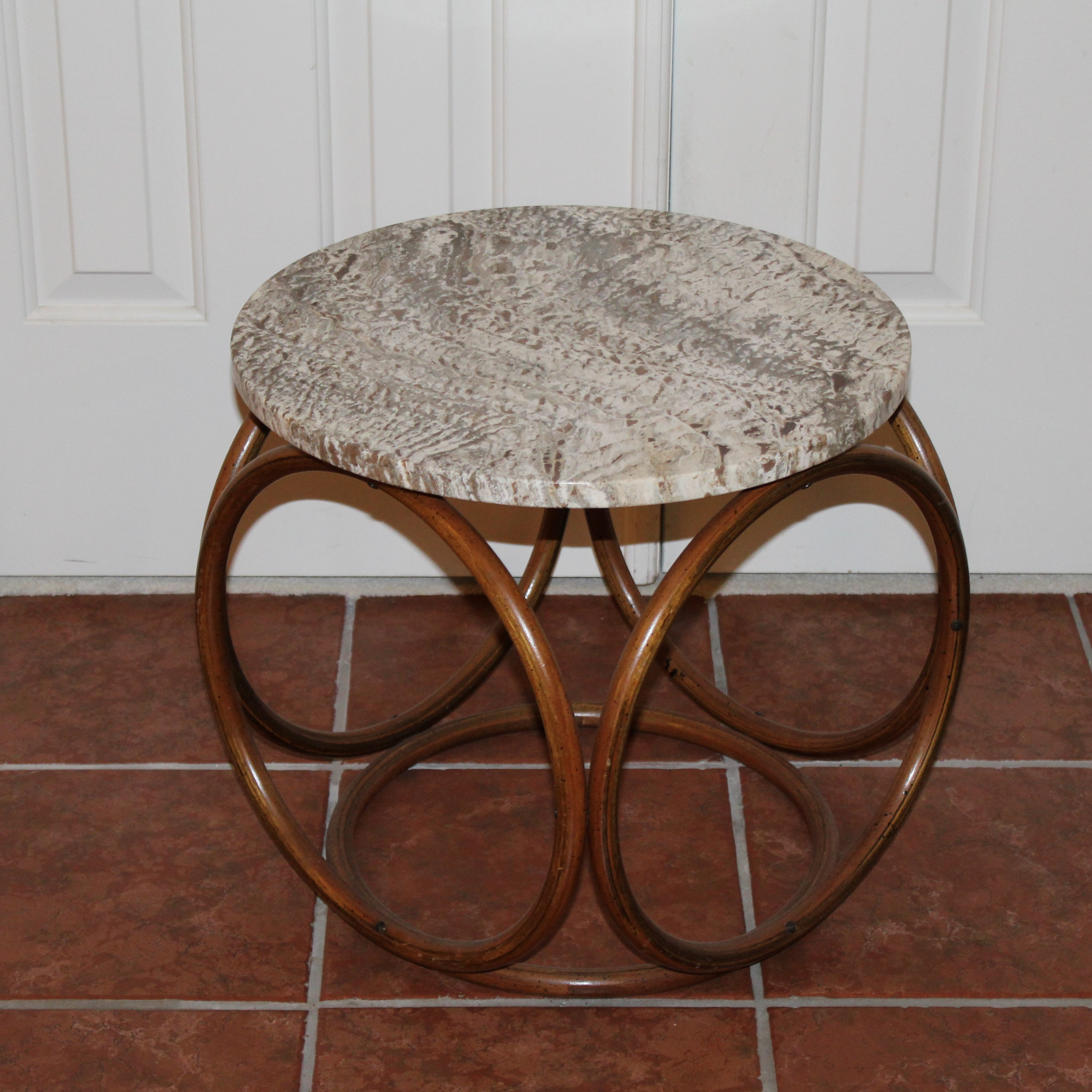 Marble Top Bambo Side Table