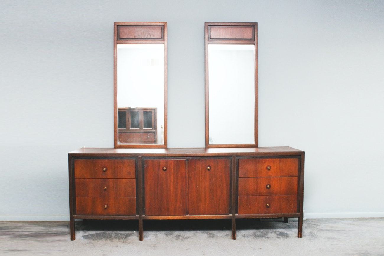 Mid Century Modern Dresser with Double Mirrors by Basic-Witz