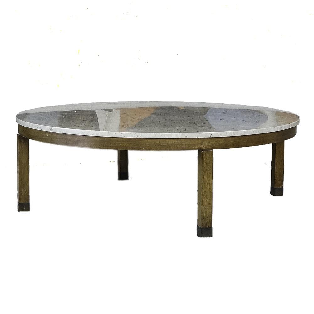 Mid Century Modern Marble on Wood Coffee Table