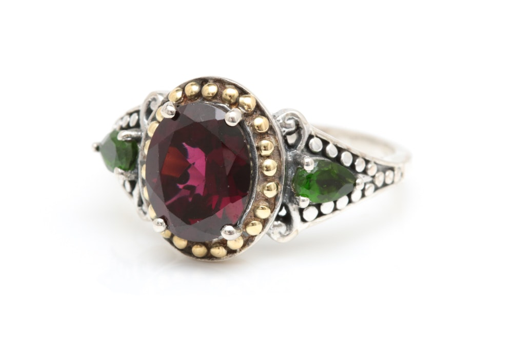 Robert Manse Sterling Silver, 18K Gold, Rhodolite and Chrome Diopside Ring