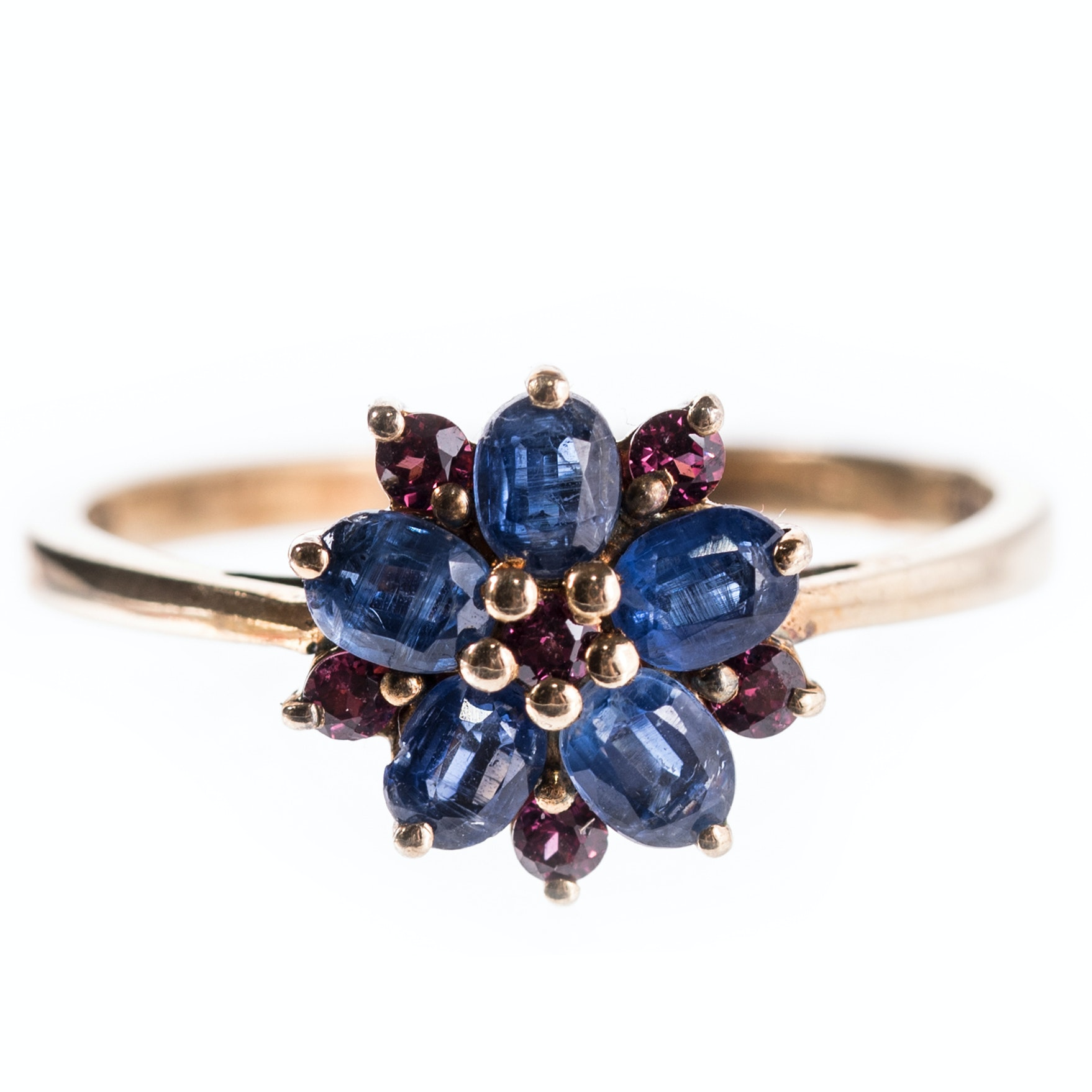 Sterling Silver Sapphire and Garnet Flower Ring with Gold Wash