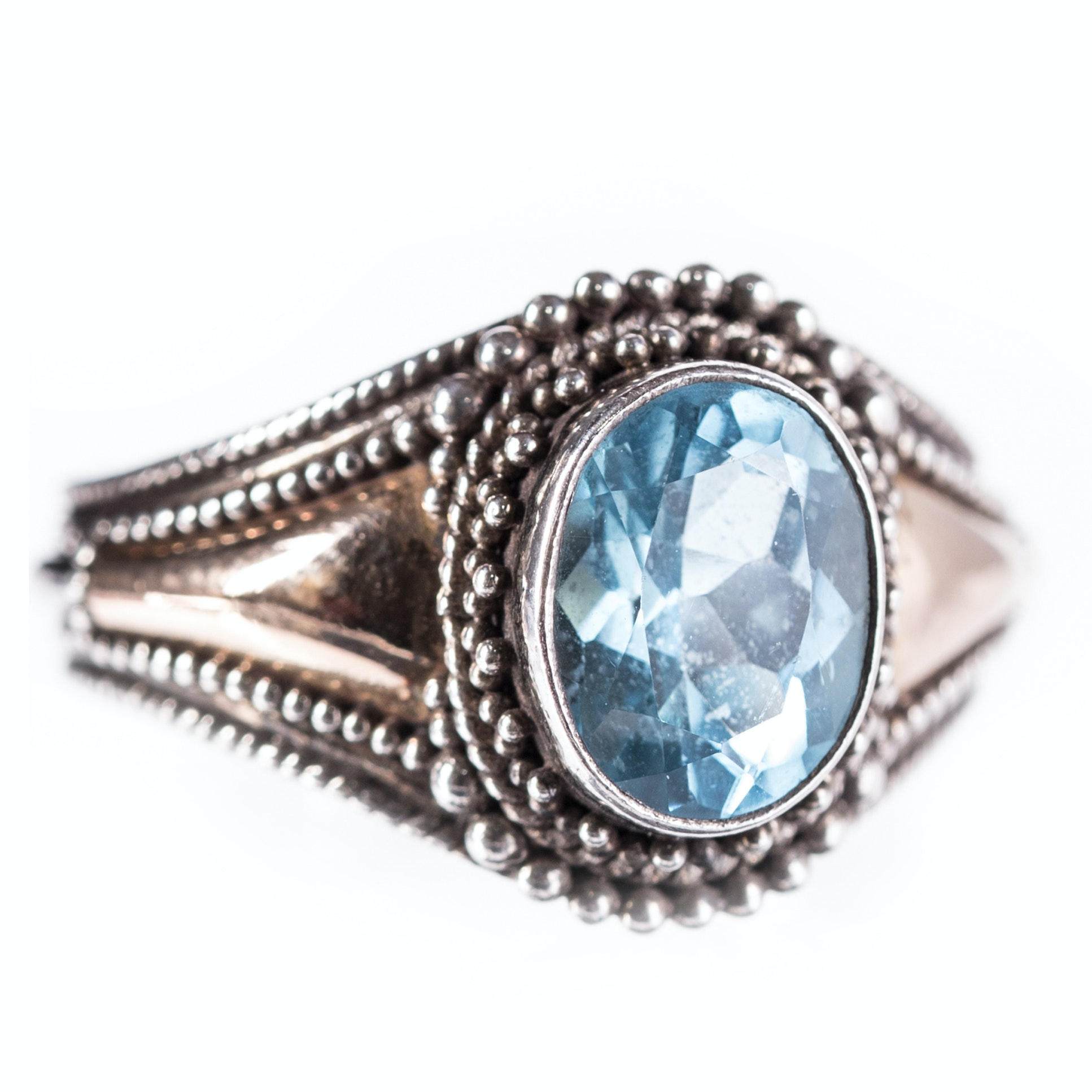 Sterling Silver Blue Topaz Ring with 18K Accents