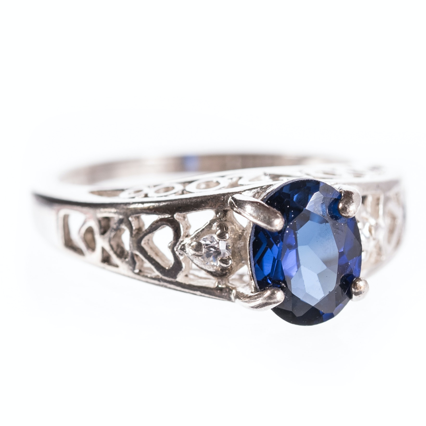 Sterling Silver Synthetic Sapphire Ring